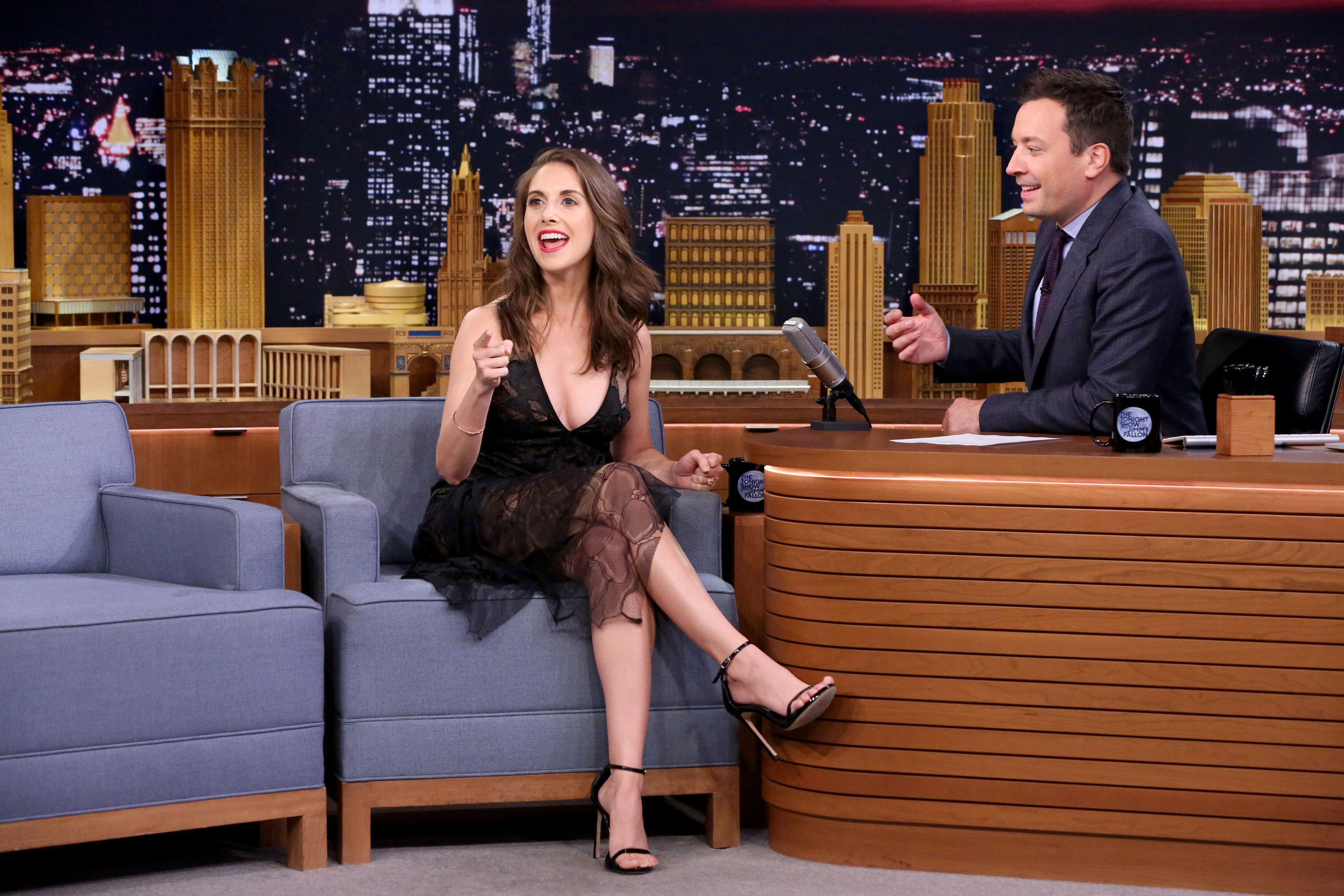 Alison Brie during an interview with host Jimmy Fallon on Sept. 4, 2015.
