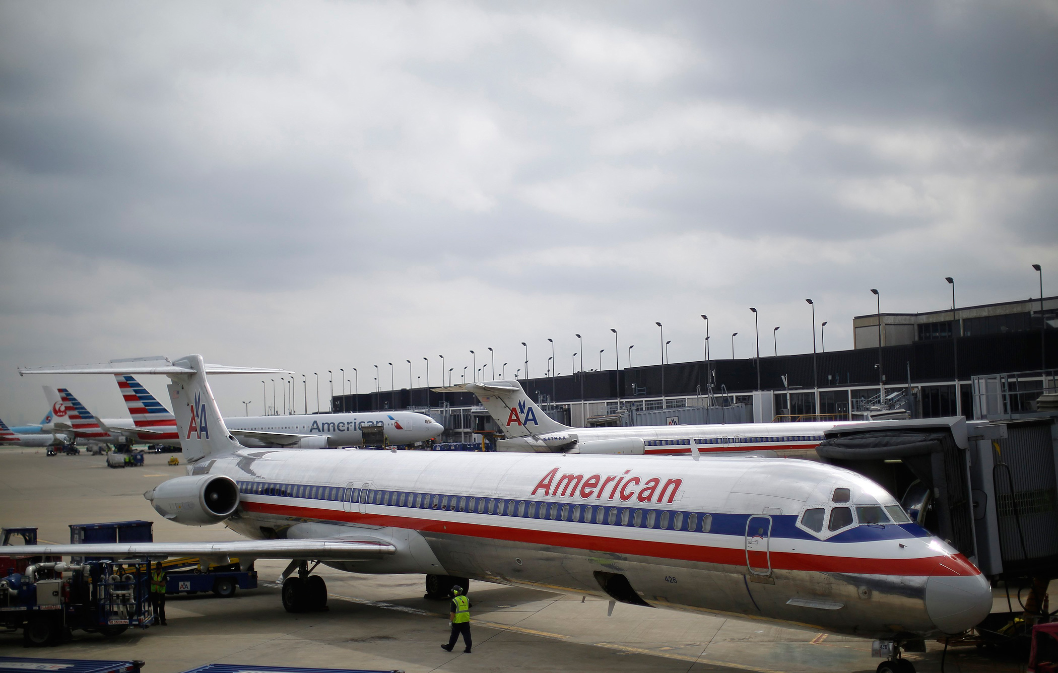 An American Airlines airplane sits at a gate at the O'Hare Airport on Oct. 2, 2014 in Chicago.