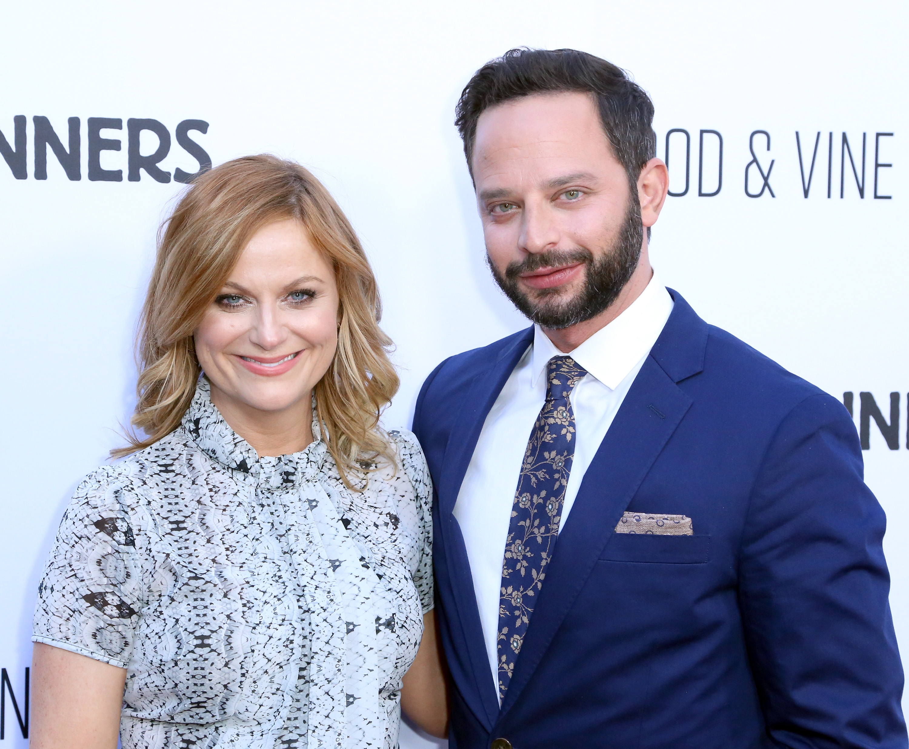 Amy Poehler and Nick Kroll at the premiere of RADiUS'  Adult Beginners  in Hollywood on April 15, 2015.