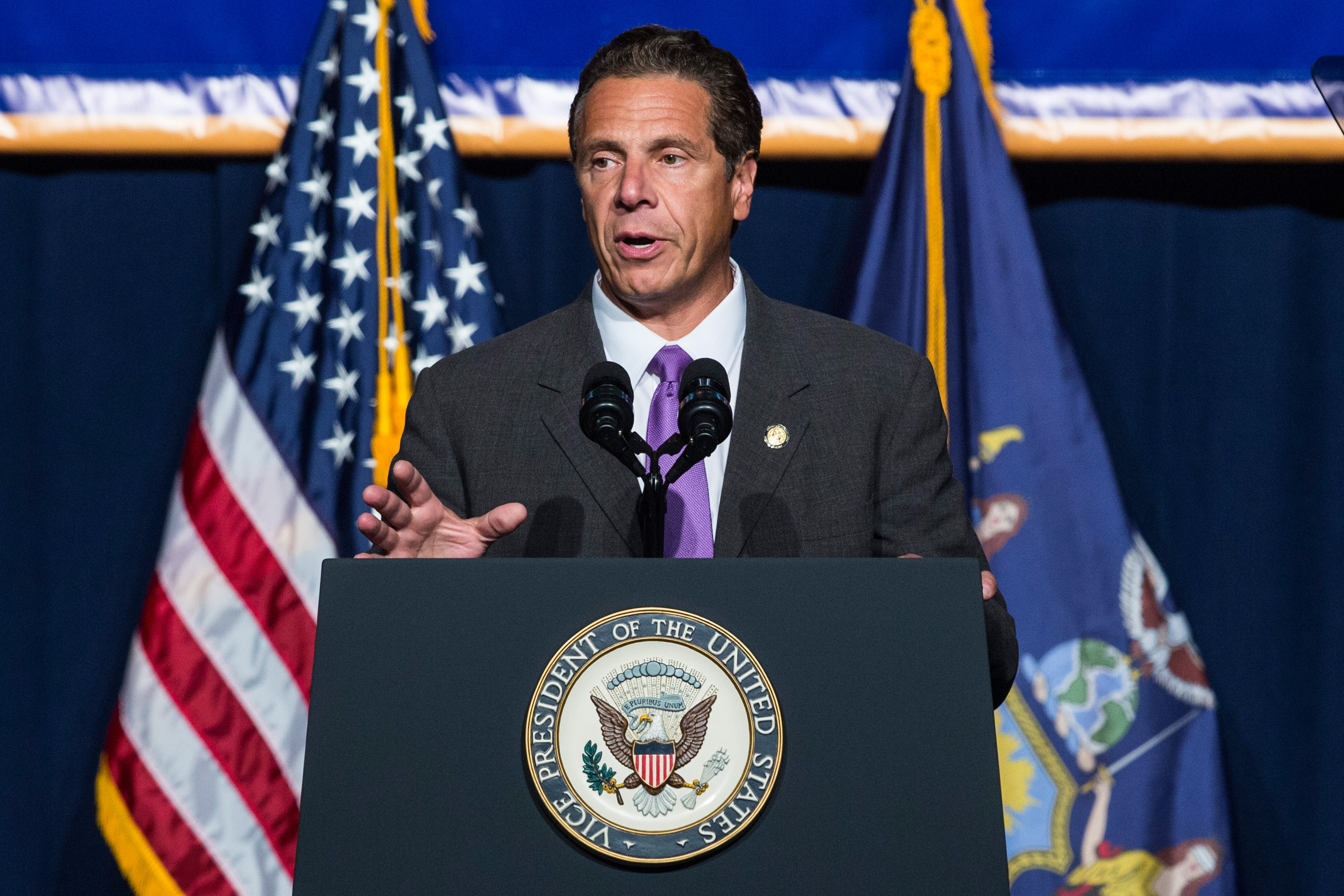 New York Governor Andrew Cuomo announces his support to raise the minimum wage for the state of New York to $15 per hour on Sept. 10, 2015.