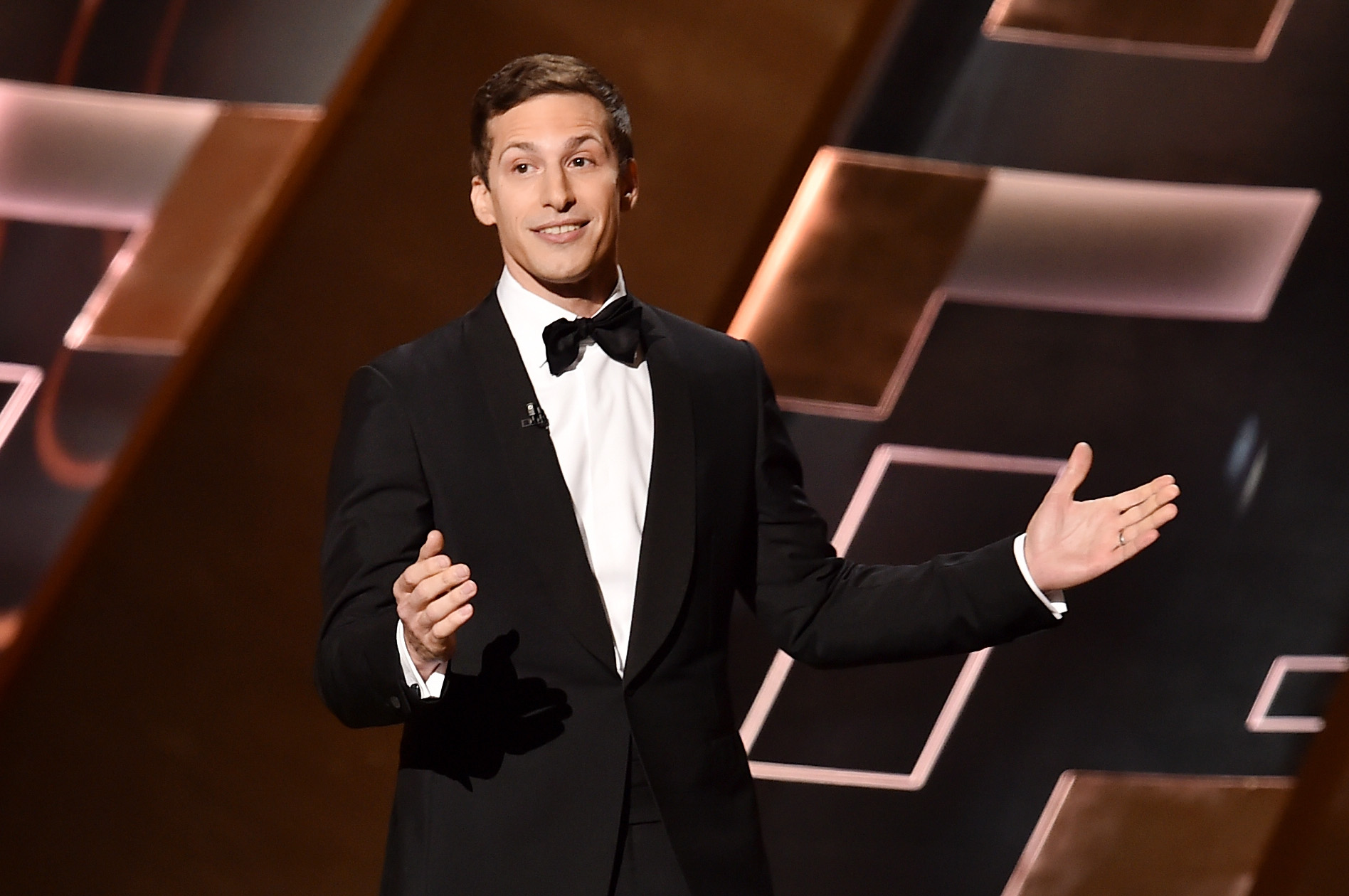 Andy Samberg onstage during the 67th Annual Primetime Emmy Awards at Microsoft Theater on Sept. 20, 2015 in Los Angeles.