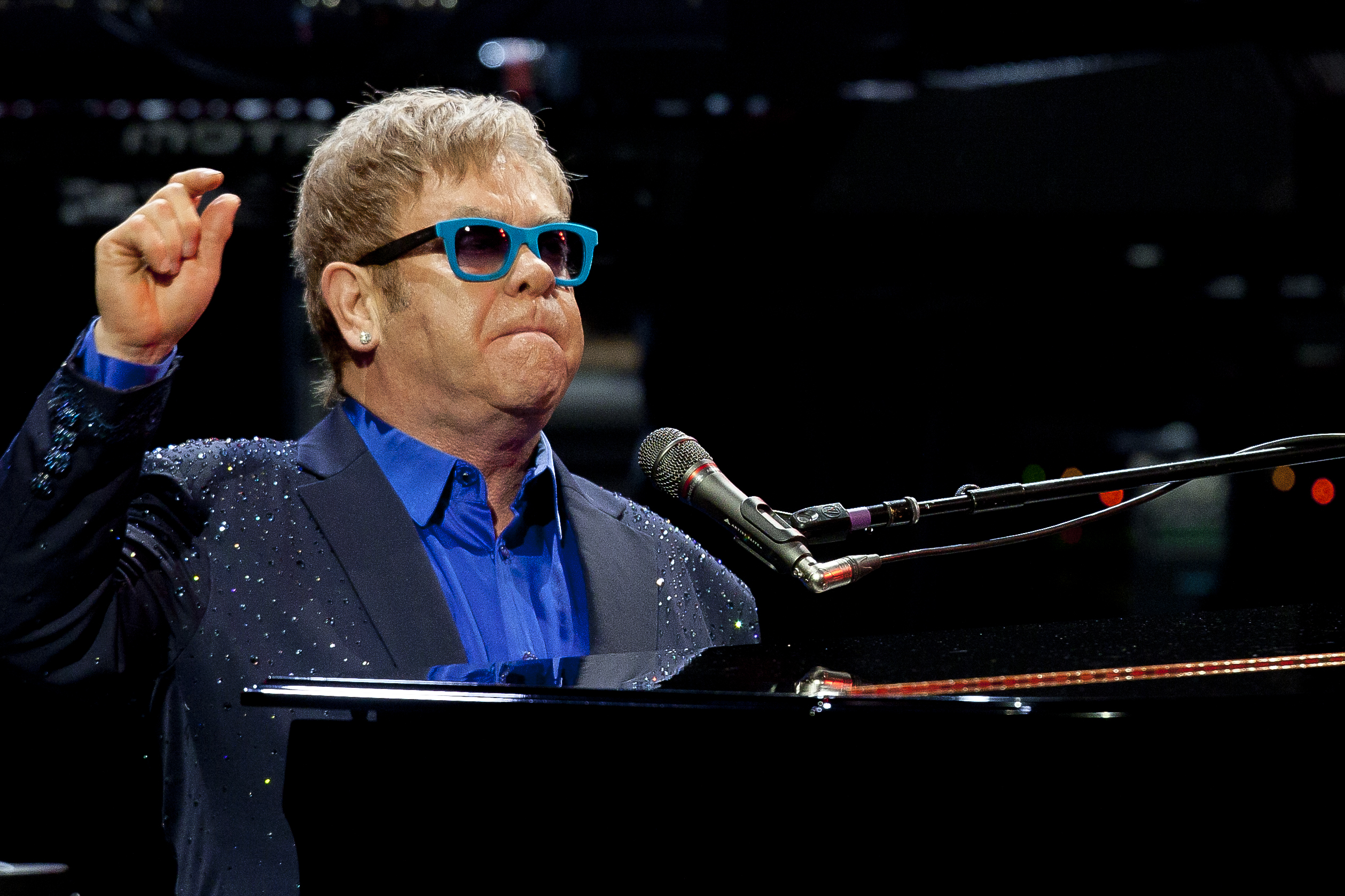 Sir Elton John and his band, during his performance at Royal Theatre in Madrid, Spain on July 20, 2015