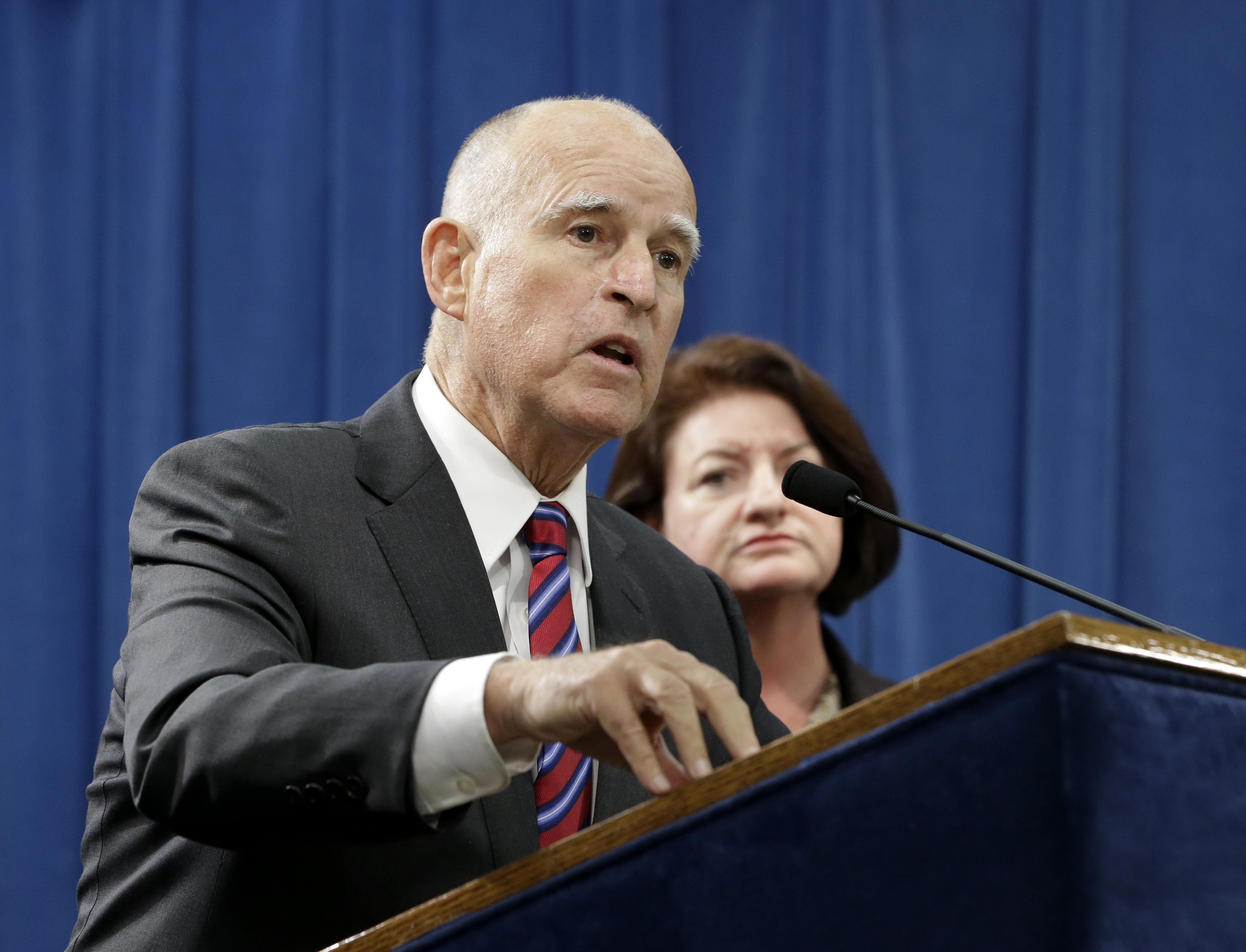 The California Senate approved legislation legalizing aid-in-dying Friday, sending it to the desk of California Gov. Jerry Brown, seen here at a Sept. 9, 2015, news conference in Sacramento, Calif.
