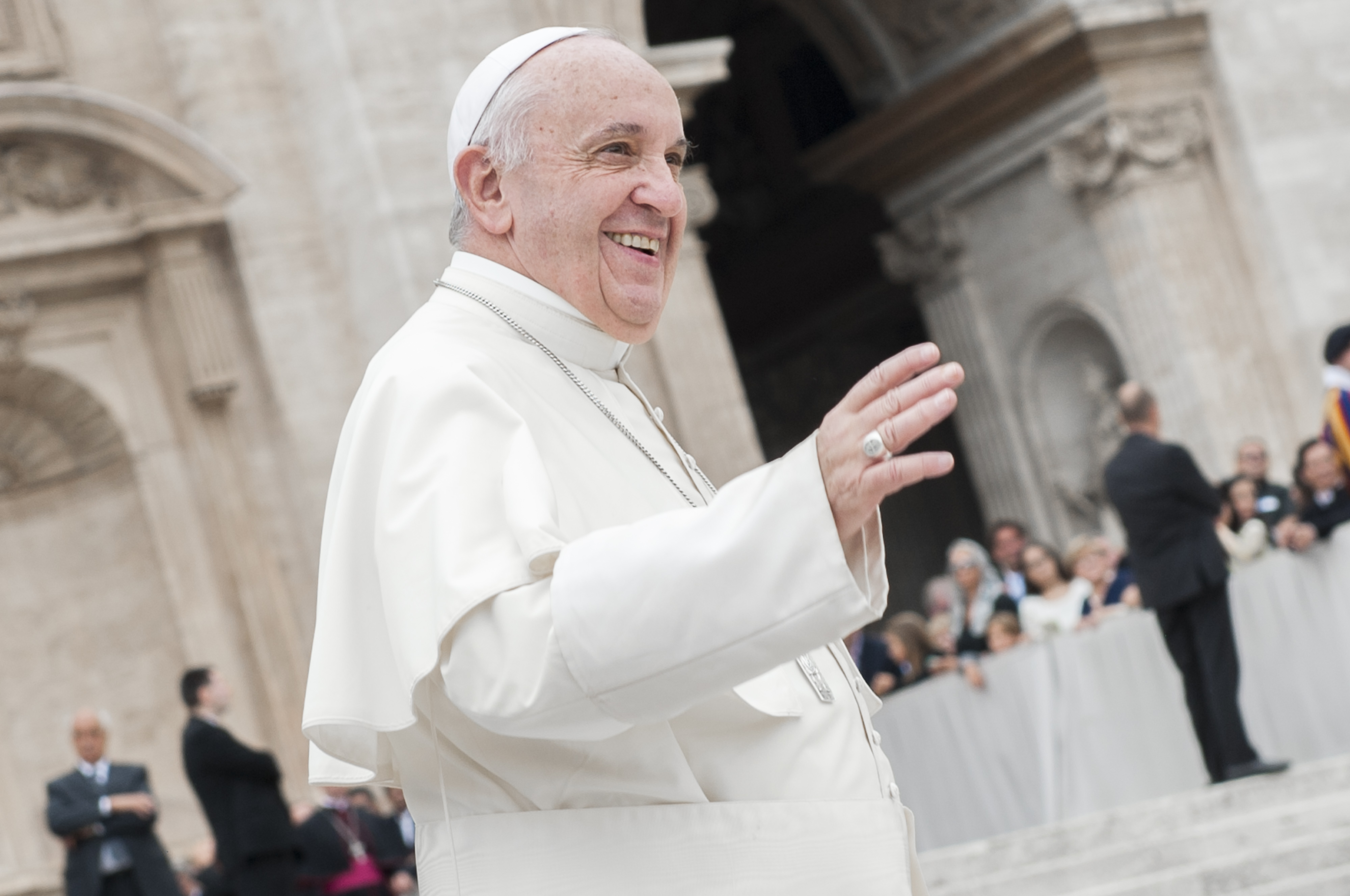 Pope Francis attends his weekly audience in Saint Peter's square at the Vatican on Sept. 2, 2015.