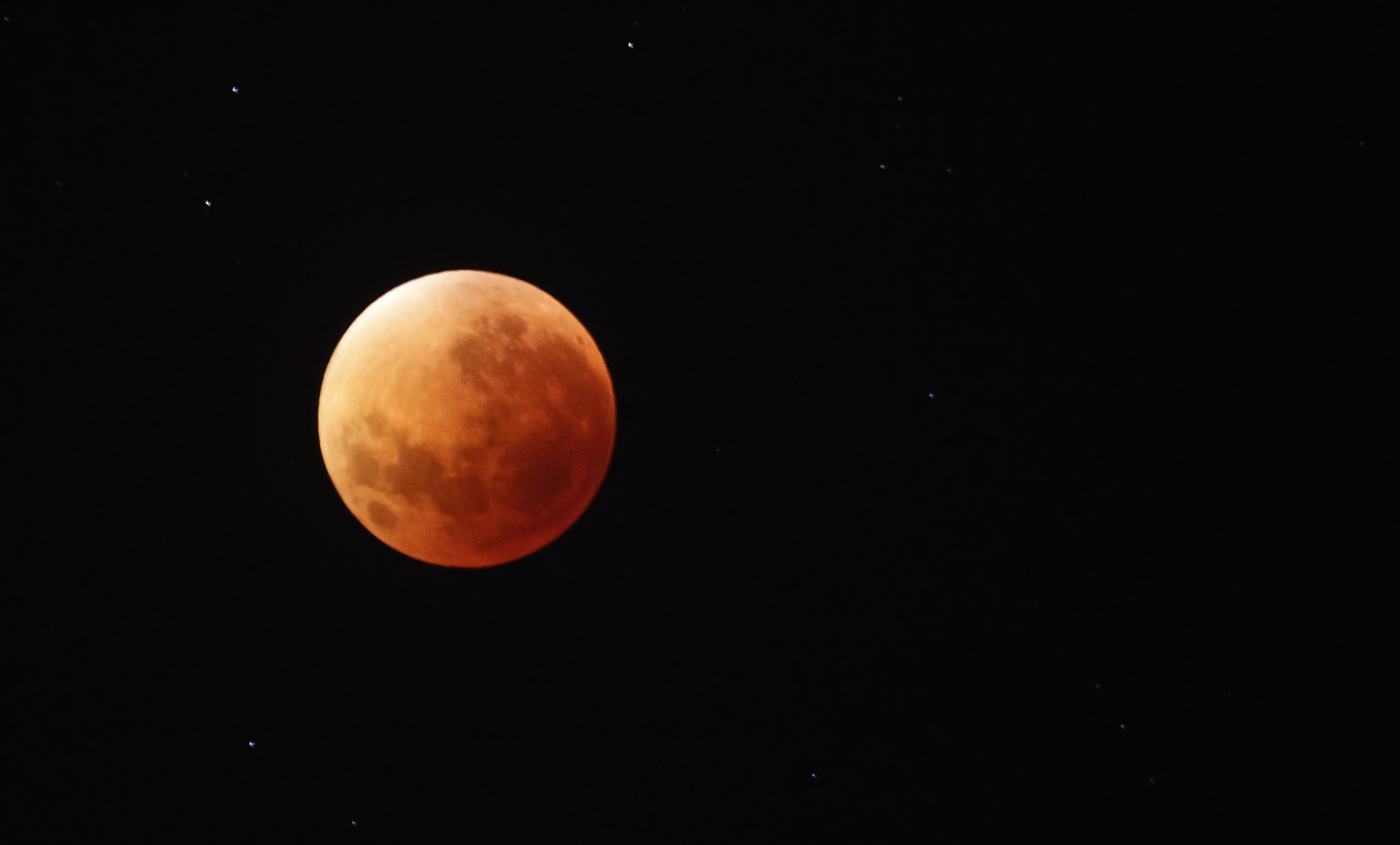 A so-called supermoon is seen during a lunar eclipse in Cape Town, South Africa,  in the early hours of Sept. 28, 2015