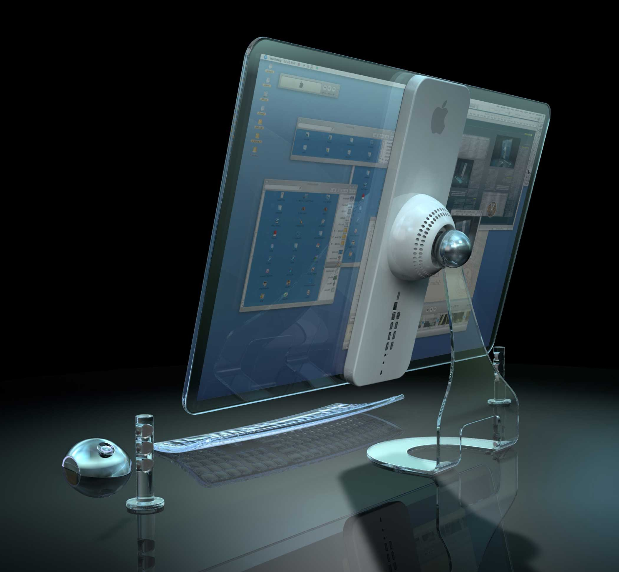2008: Transparent iMac This transparent iMac screen would be paired with a wireless keyboard with glowing light-sensitive keys.