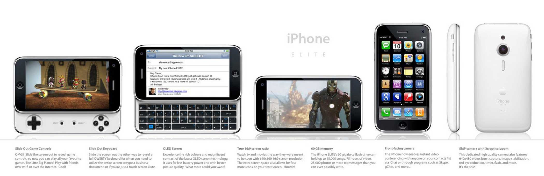 2008: iPhone Elite A sliding panel would allow for this iPhone to have a keyboard or game controls.