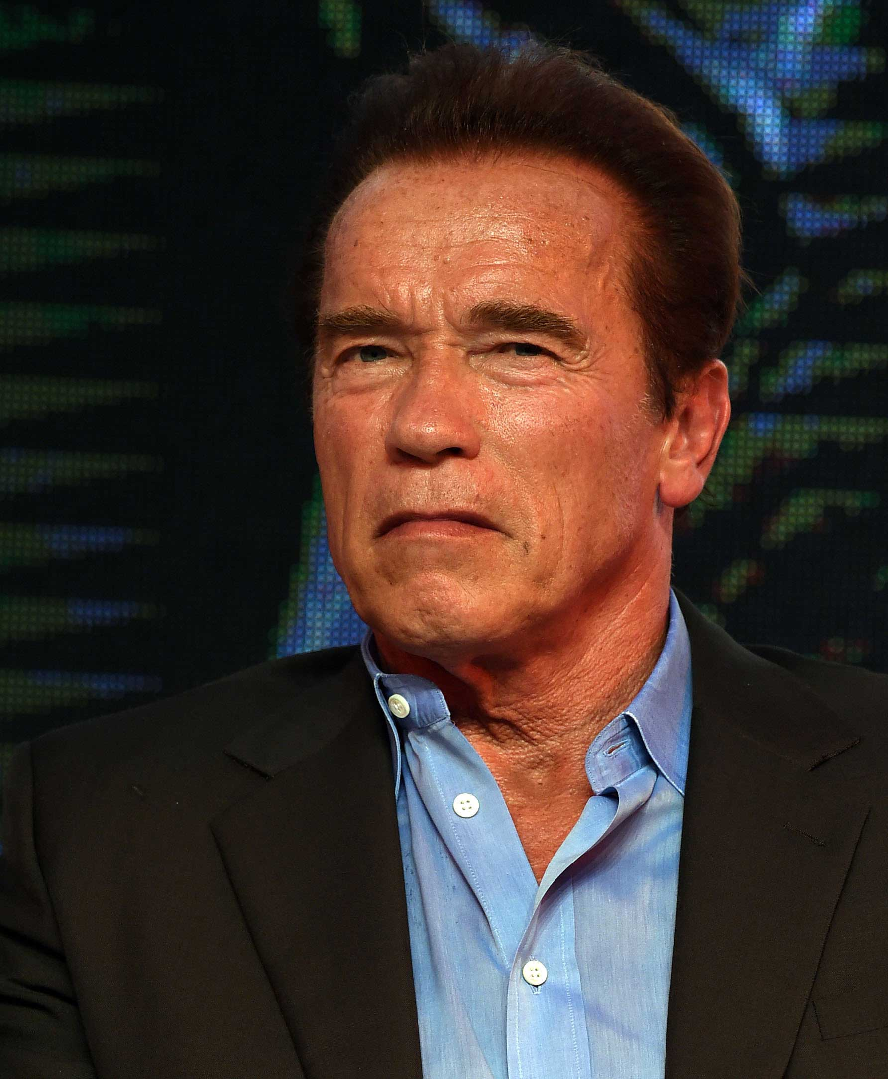 Actor Arnold Schwarzenegger attends a press conference of Alan Taylor's film  Terminator Genisys  on August 21, 2015 in Shanghai, China.