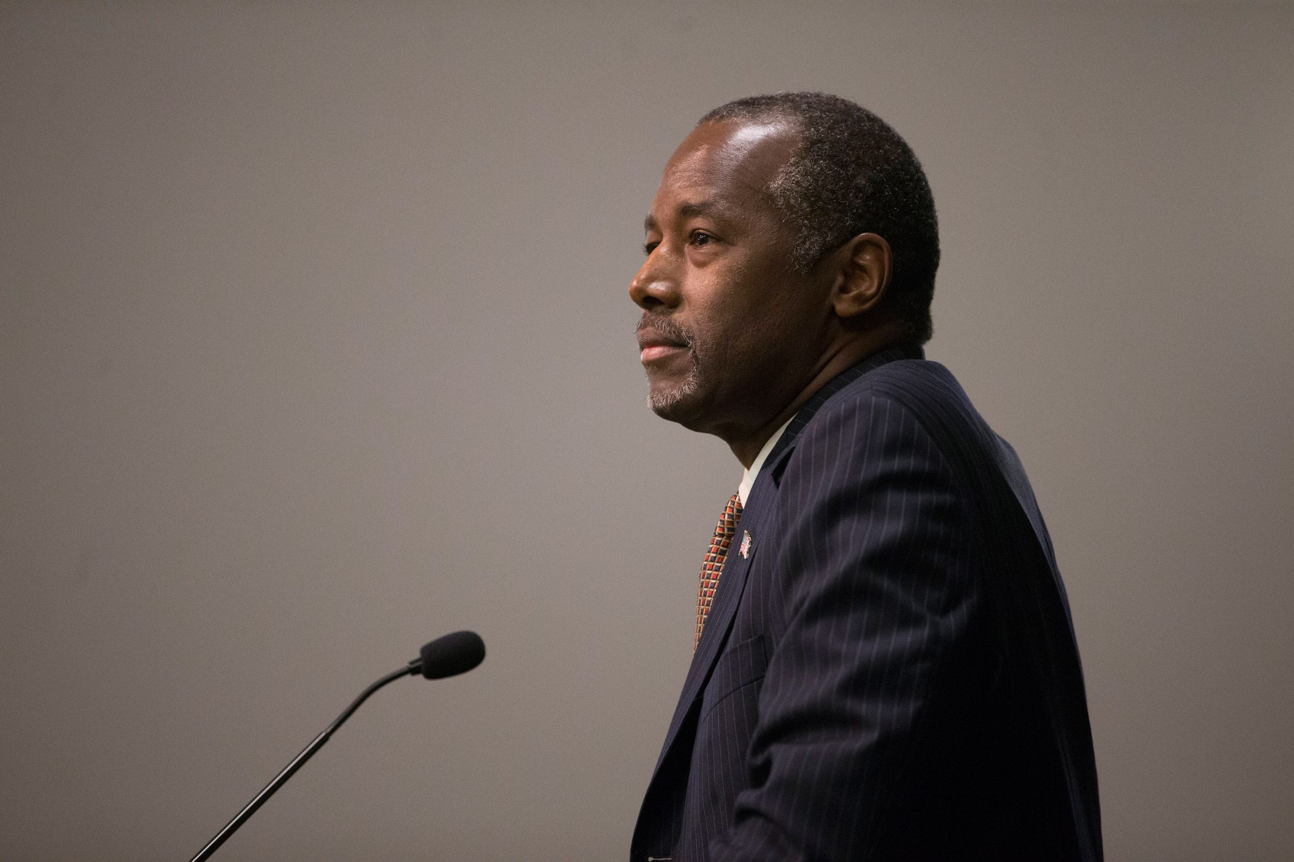 Republican presidential candidate Ben Carson takes questions at a news conference at the Sharonville Convention Center in Cincinnati on Sept. 22, 2015.
