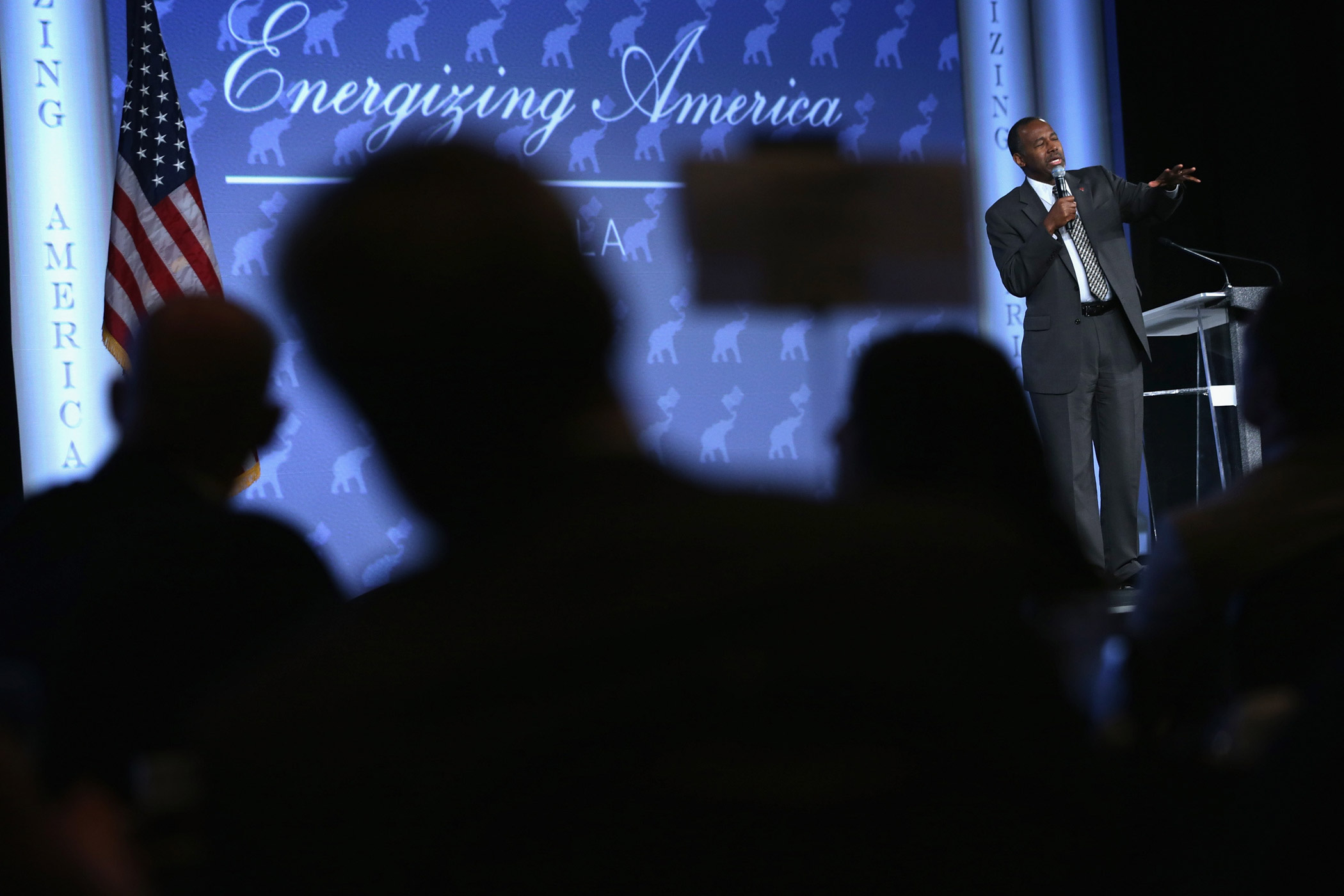 Ben Carson speaks during the Energizing America Gala at the 2015 Southern Republican Leadership Conference May 22, 2015 in Oklahoma City, Okla.