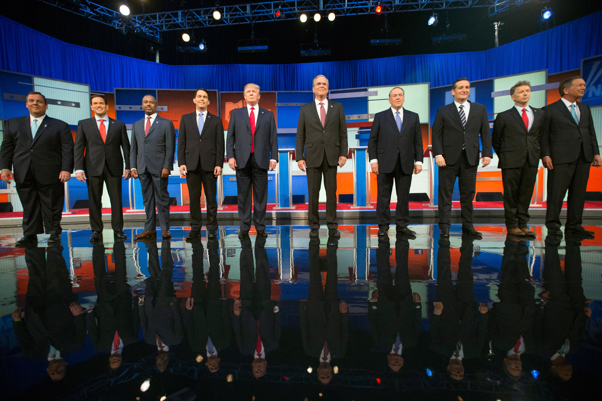 Republican presidential candidates from left, Chris Christie, Marco Rubio, Ben Carson, Scott Walker, Donald Trump, Jeb Bush, Mike Huckabee, Ted Cruz, Rand Paul, and John Kasich take the stage for the first Republican presidential debate on Aug. 6, 2015,  in Cleveland.