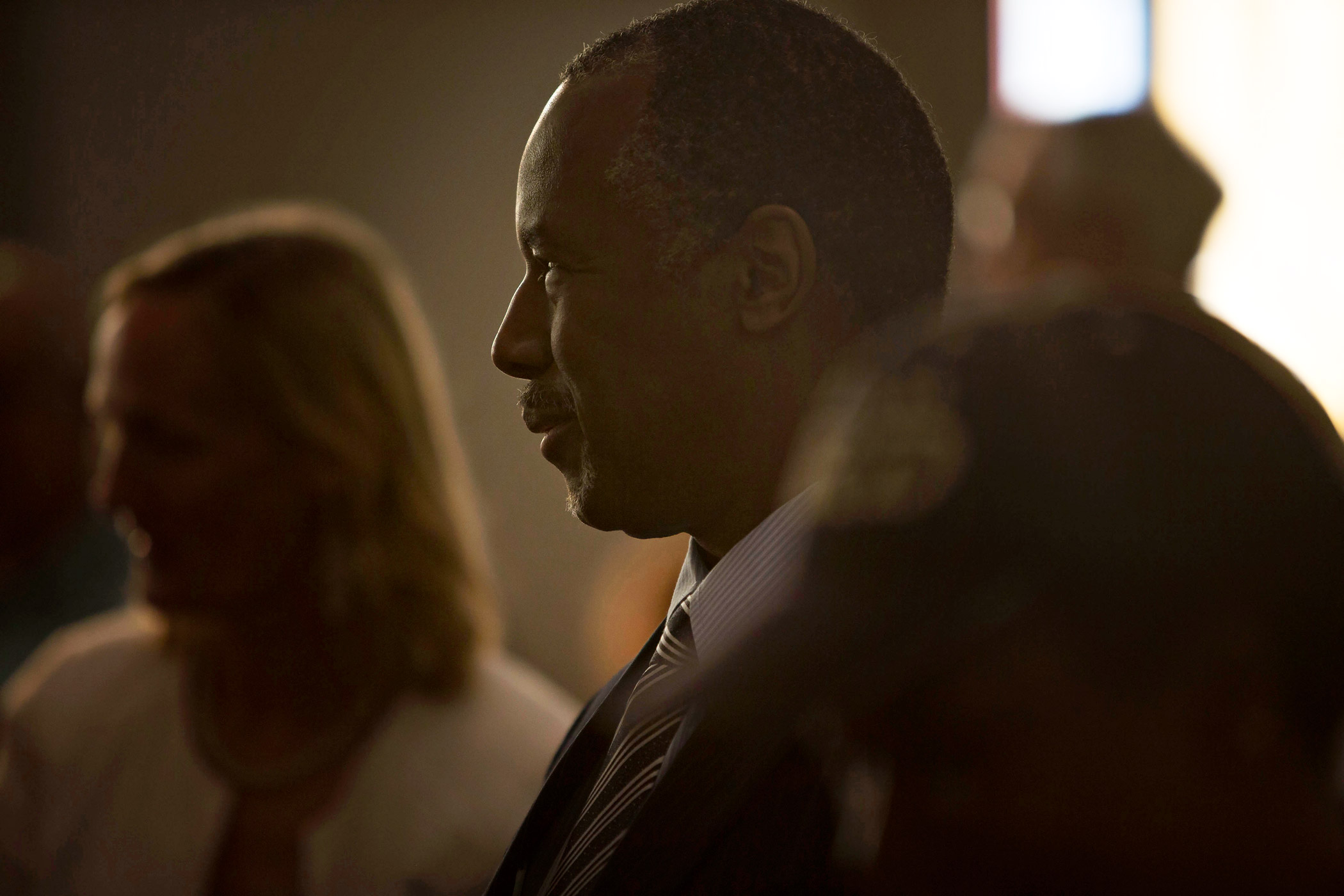Ben Carson at a service at Maple Street Missionary Baptist Church on Aug. 16, 2015 in Des Moines.