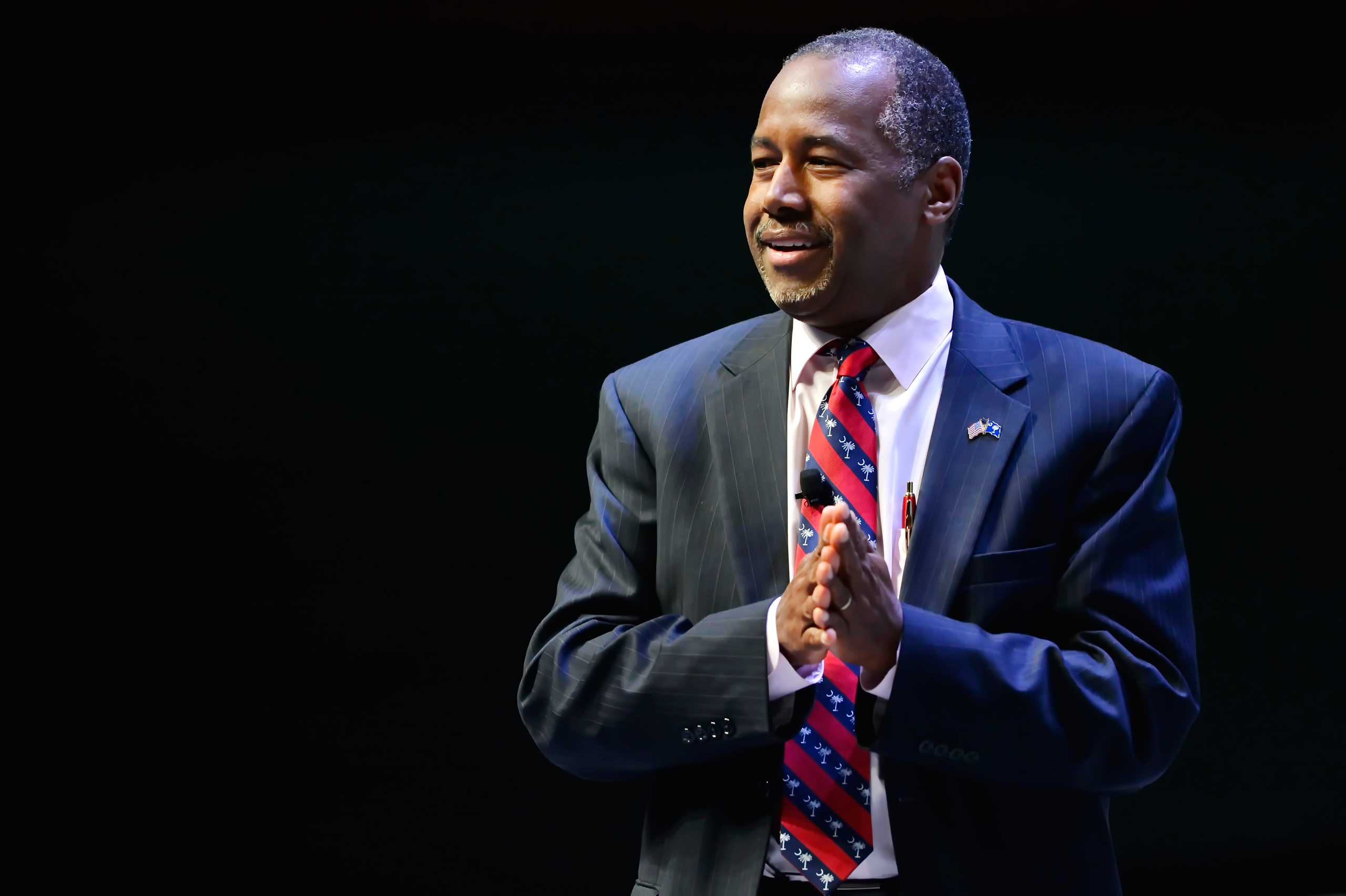 Republican presidential candidate Ben Carson speaks at a presidential forum sponsored by Heritage Action at the Bon Secours Wellness Arena, Sept. 18, 2015, in Greenville, S.C.