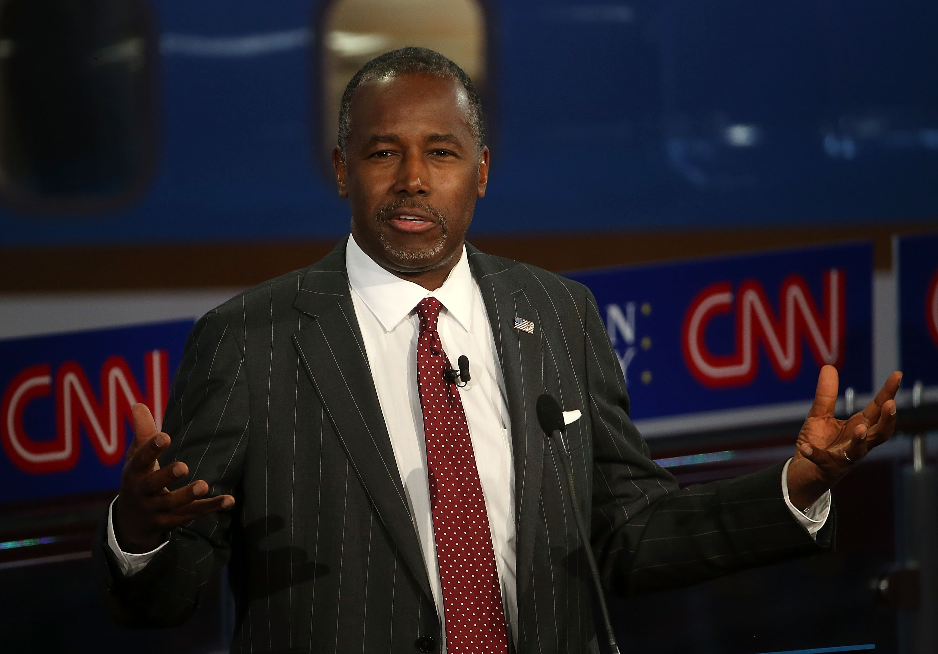 Republican presidential candidate Ben Carson takes part in the presidential debates at the Reagan Library in Simi Valley, Calif. on Sept. 16, 2015.