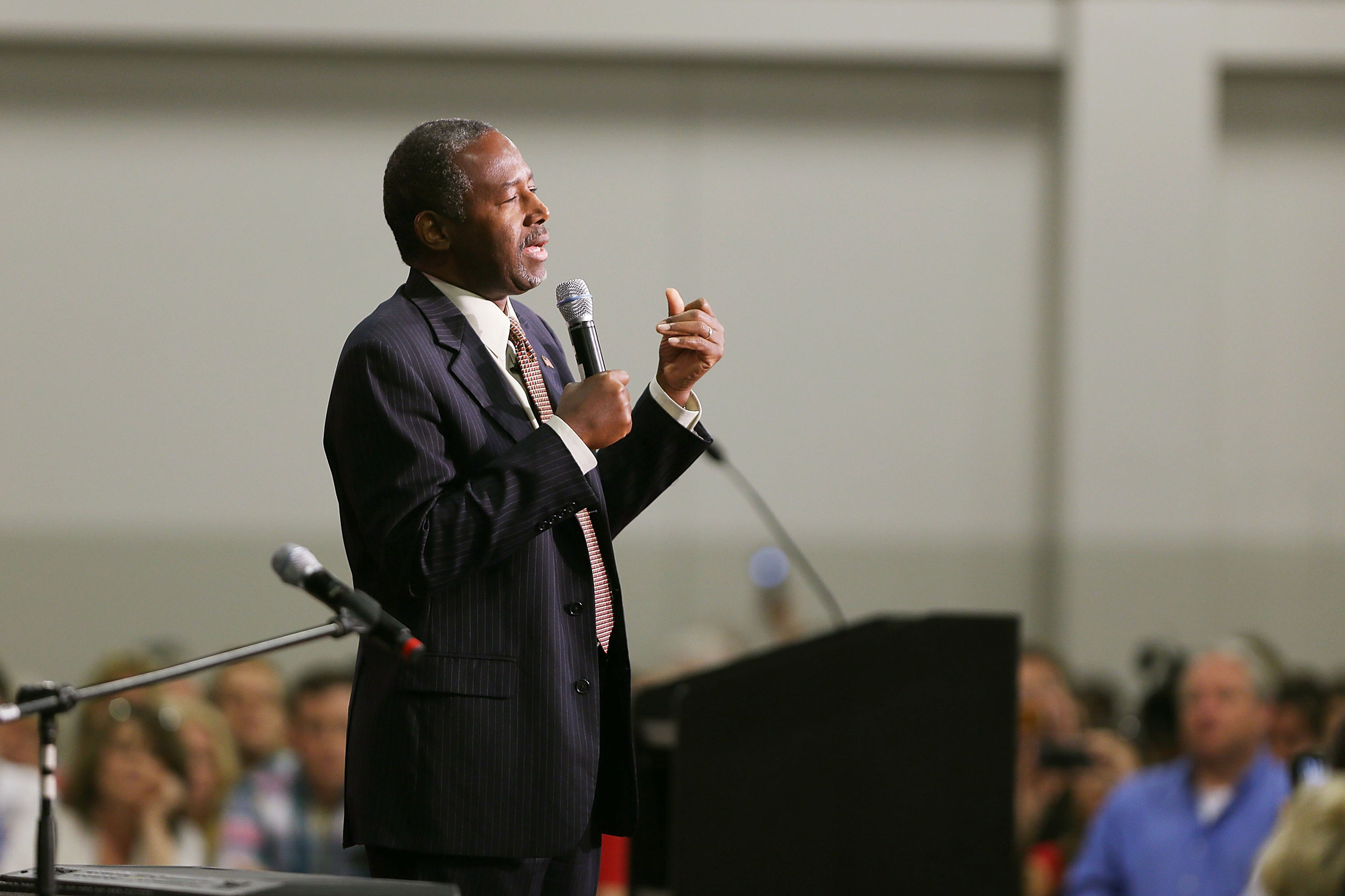 Republican presidential candidate Dr. Ben Carson speaks at a campaign rally  in Sharonville, Ohio, on Sept. 22, 2015.