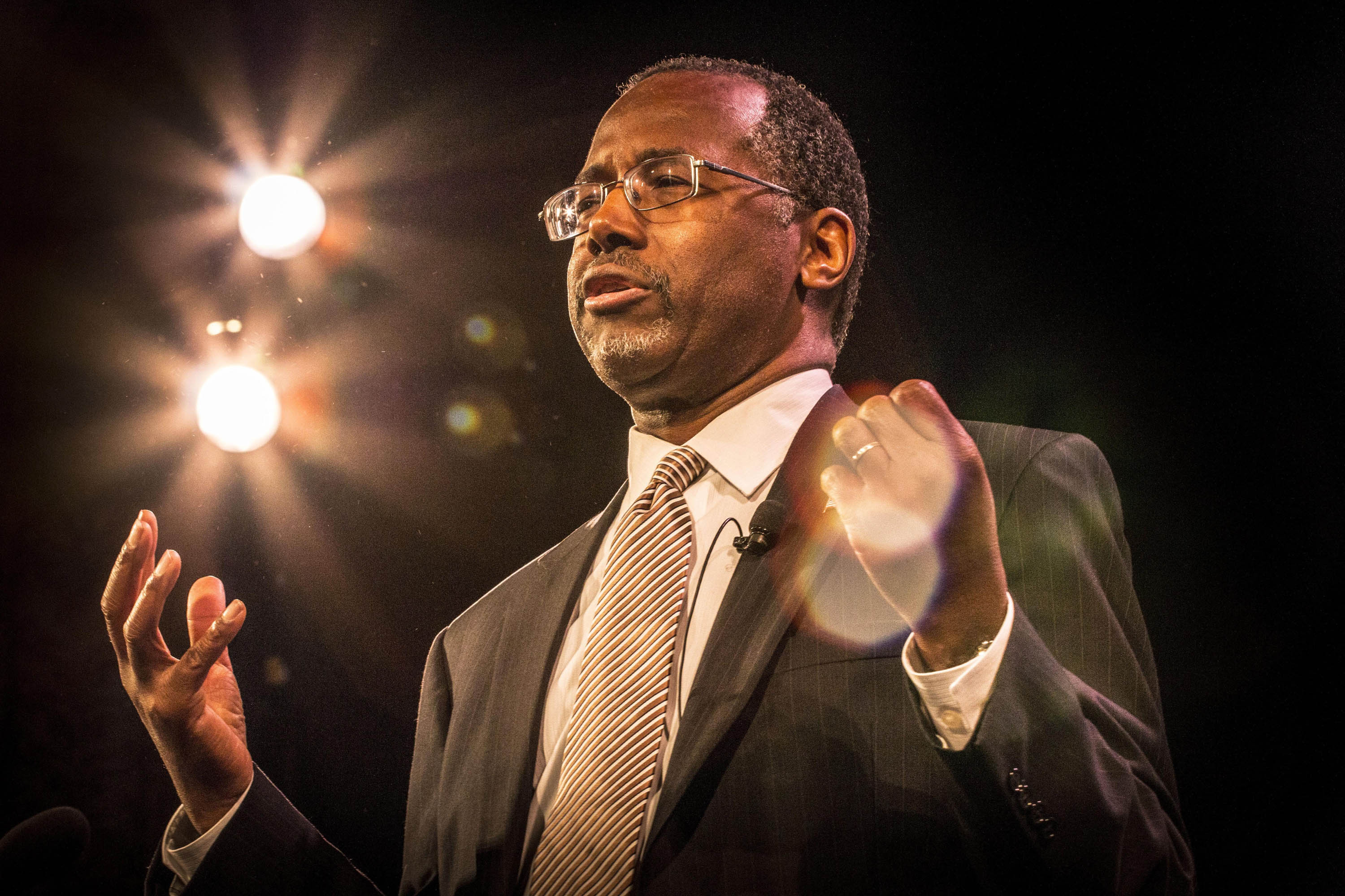 Carson rallies the faithful at the Iowa Freedom Summit in Des Moines                    in January.