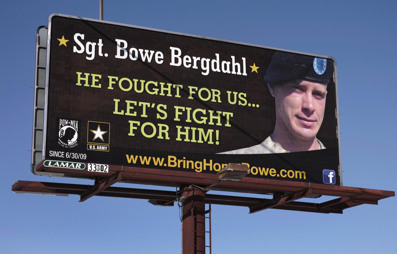 A billboard calling for the release of U.S. Army Sergeant Bowe Bergdahl near Spokane, Washington, on Feb. 25, 2014
