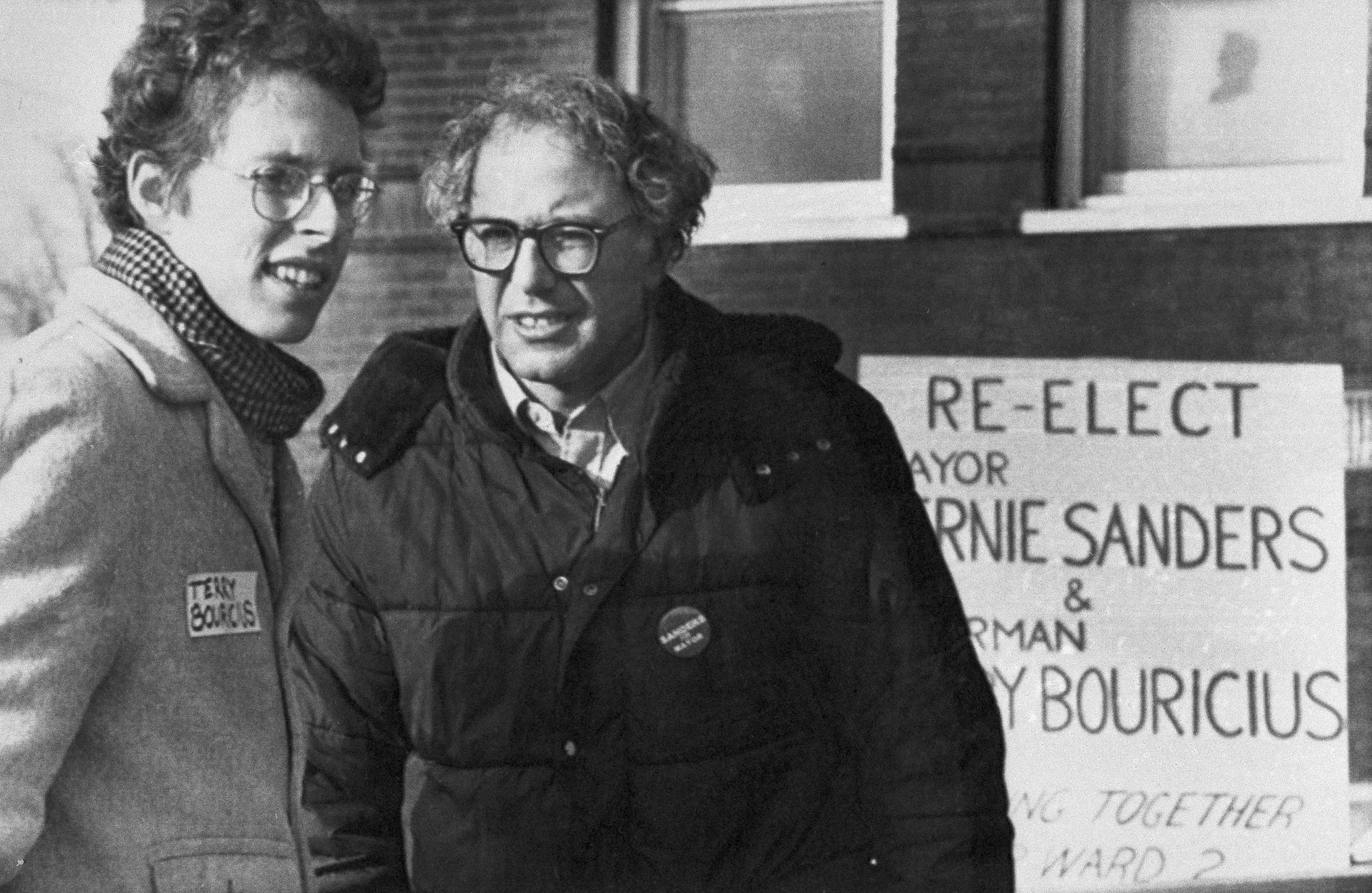 Bernie Sanders, right, greeted voters at a Burlington polling place on March 1, 1983 in Burlington, Vt.
