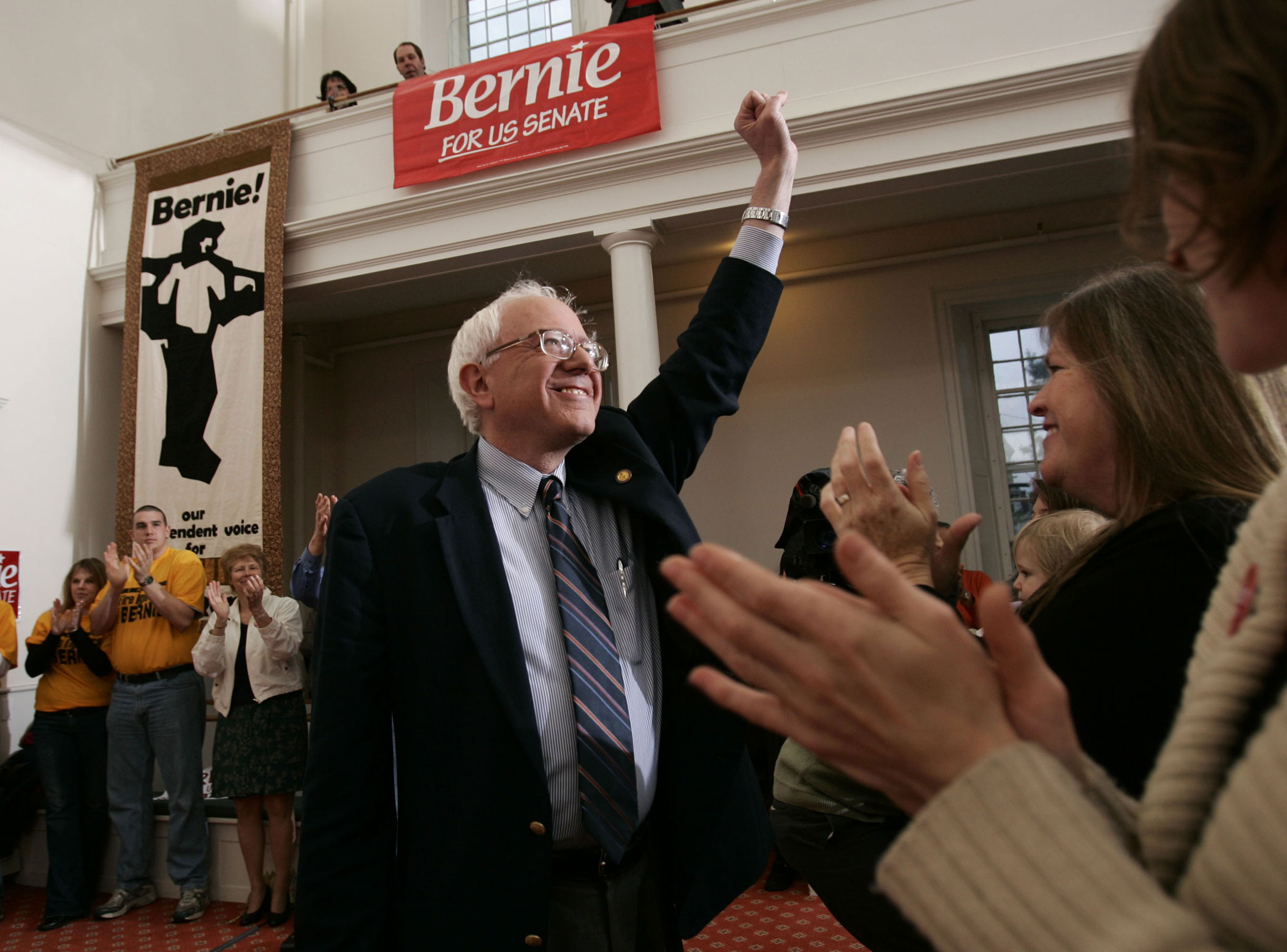 Bernie Sanders officially announces his candidacy for U.S. Senate on May 19, 2006, at the Unitarian Church in Burlington, Vt.