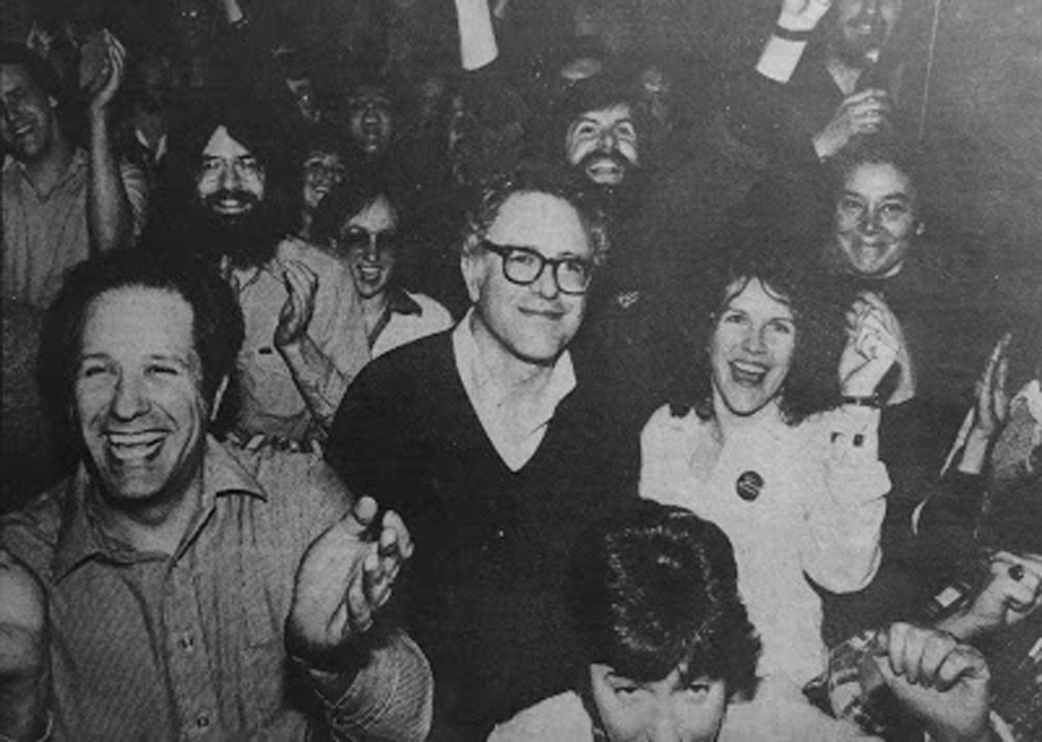 Bernie Sanders and his campaign celebrating after his mayoral re-election circa 1983 in Burlington, Vt.