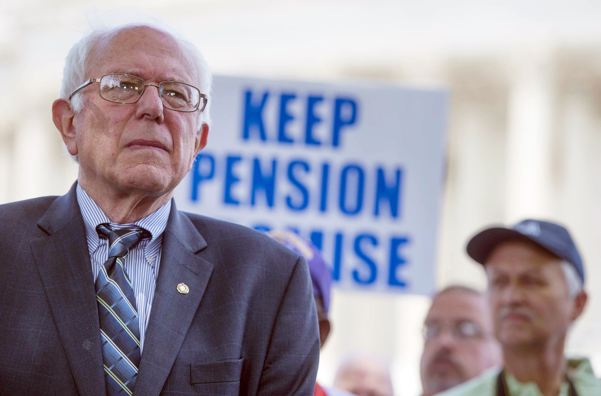 Bernie Sanders speaks during a news conference to discuss legislation to restore pension guarantees for thousands of retired union workers  on June 18, 2015 in Washington.