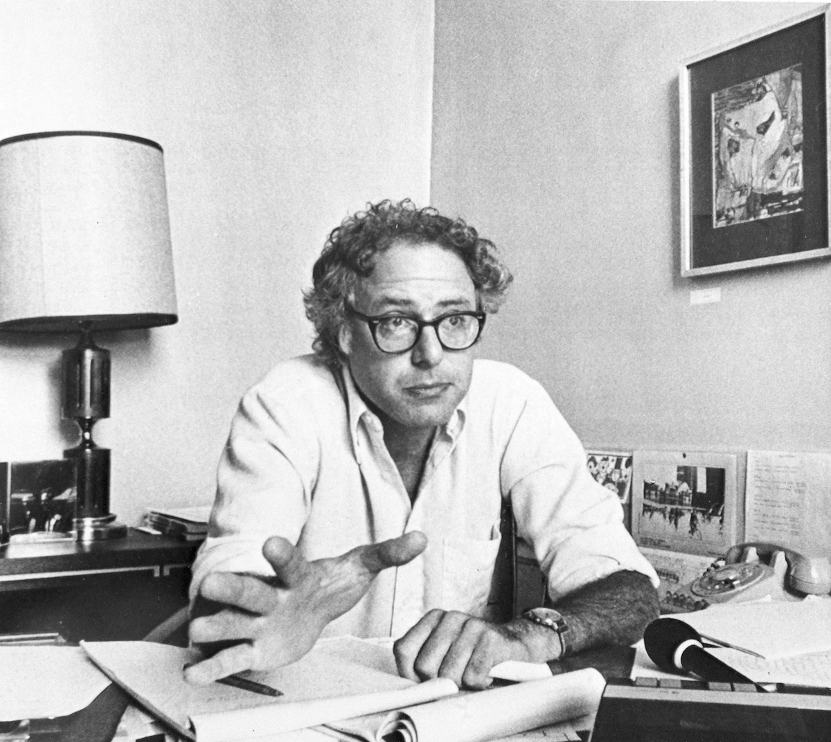 Six months after he scored a surprise victory to become mayor of Burlington, Vermont's largest city, Bernie Sanders is pictured at city hall on Sept. 15, 1981.
