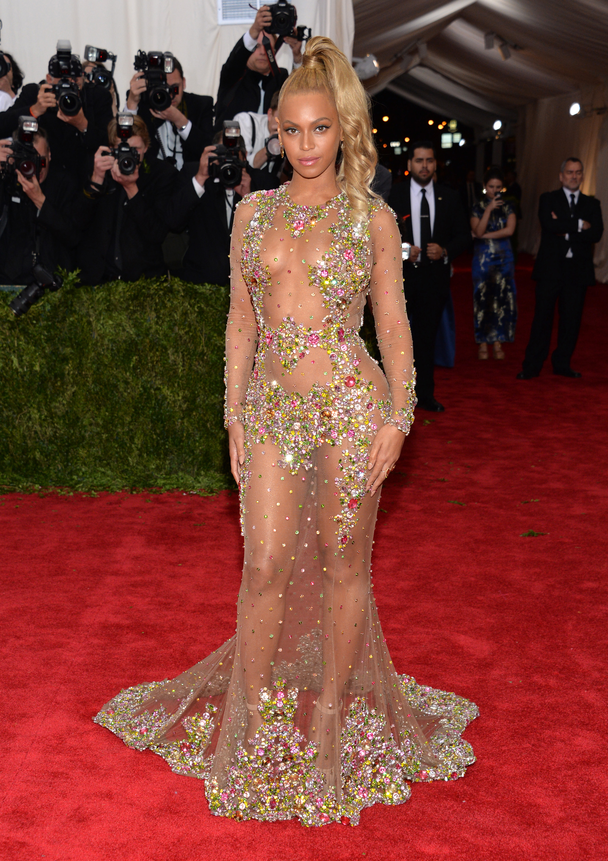 "Beyonce arrives at The Metropolitan Museum of Art's Costume Institute benefit gala celebrating ""China: Through the Looking Glass"" on May 4, 2015, in New York City."