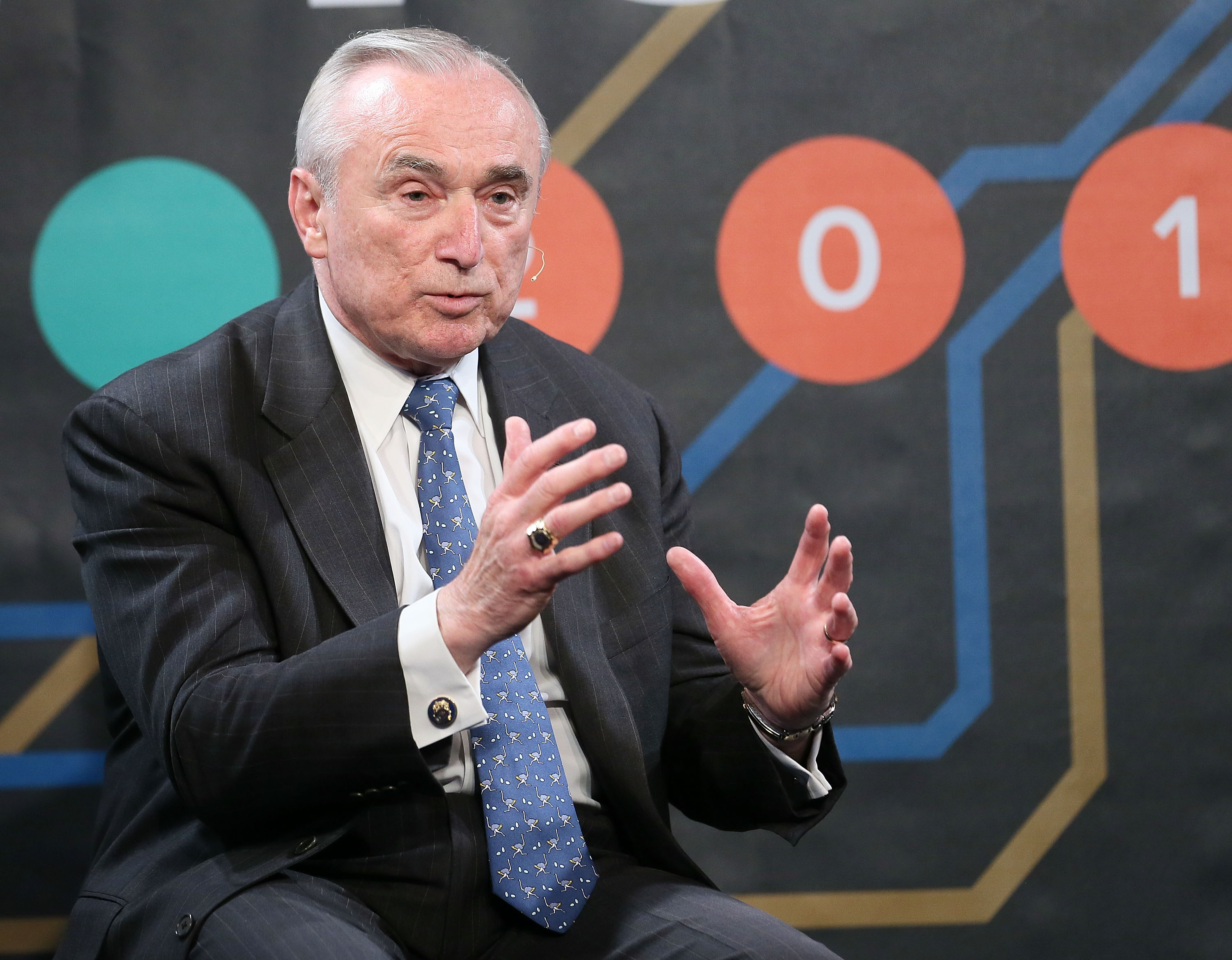 New York City Police Commissioner William Bratton speaks on the 'On Policing in New York - And What Made This Year Different' Panel at the 2015 New York Ideas Forum in New York City on May 20, 2015.