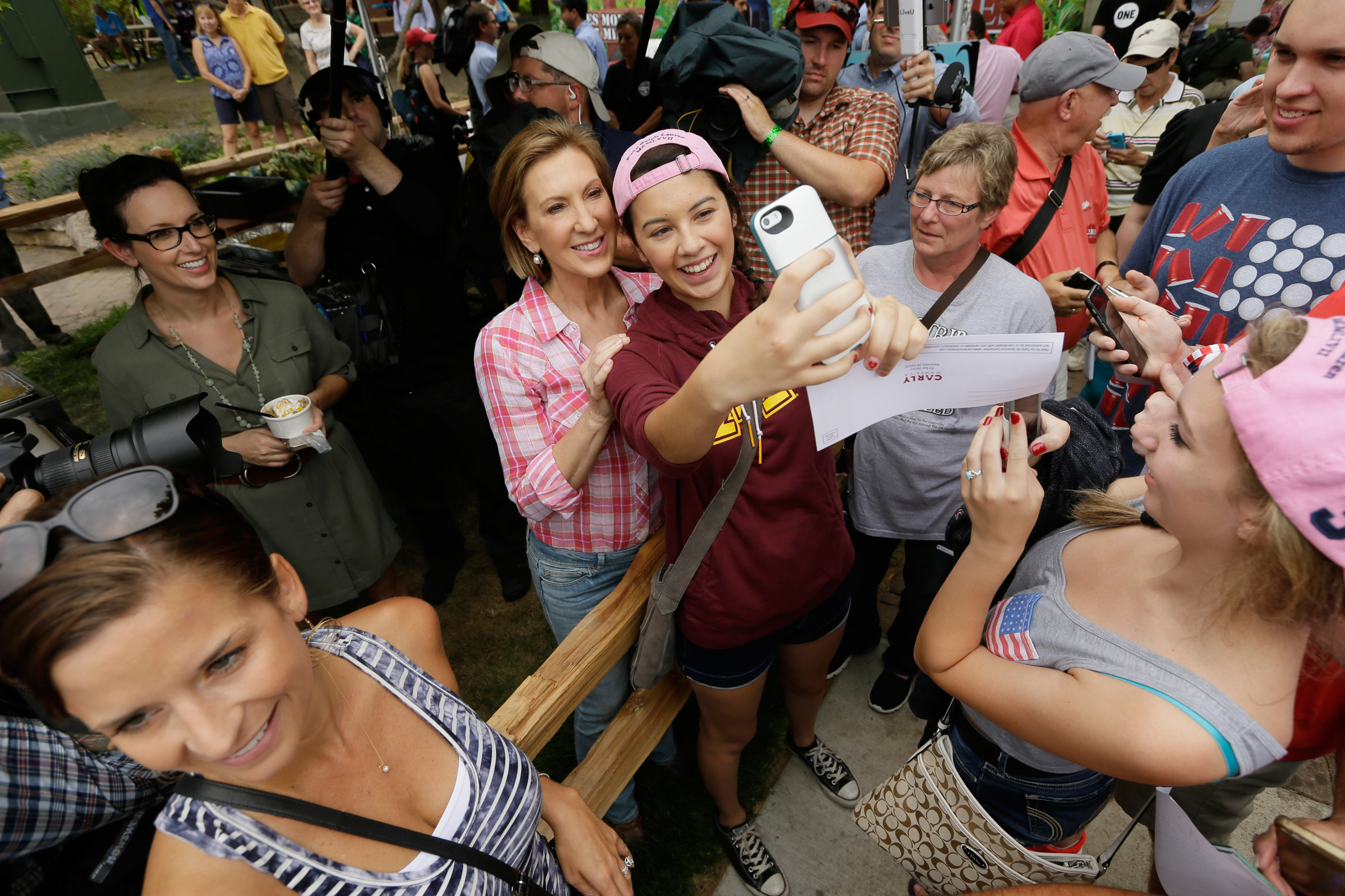 Carly Fiorina greets fairgoers during a visit to the Iowa State Fair, on Aug. 17, 2015, in Des Moines, Iowa.