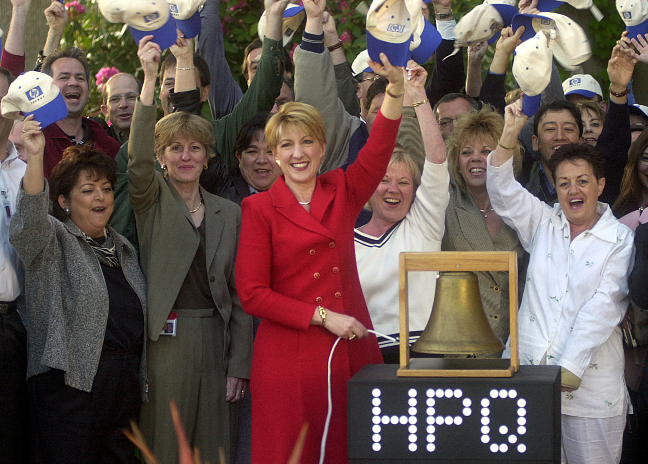 Carly Fiorina rang a bell to virtually open the New York Stock Exchange from HP's headquarters on May 6, 2002 in Palo Alto, Calif.