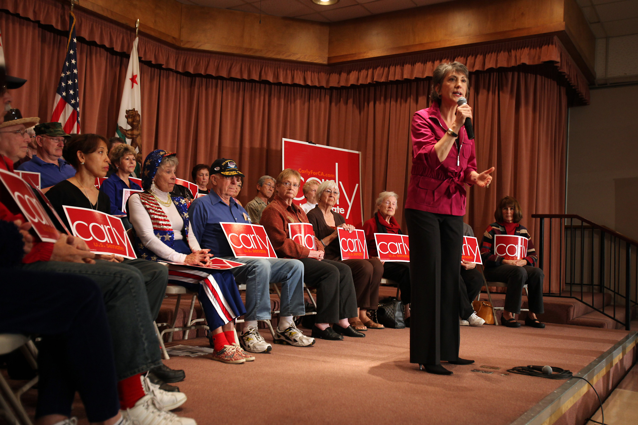 Carly Fiorina speaks to senior citizens at Leisure World on Oct. 30, 2010 in Seal Beach, Calif.