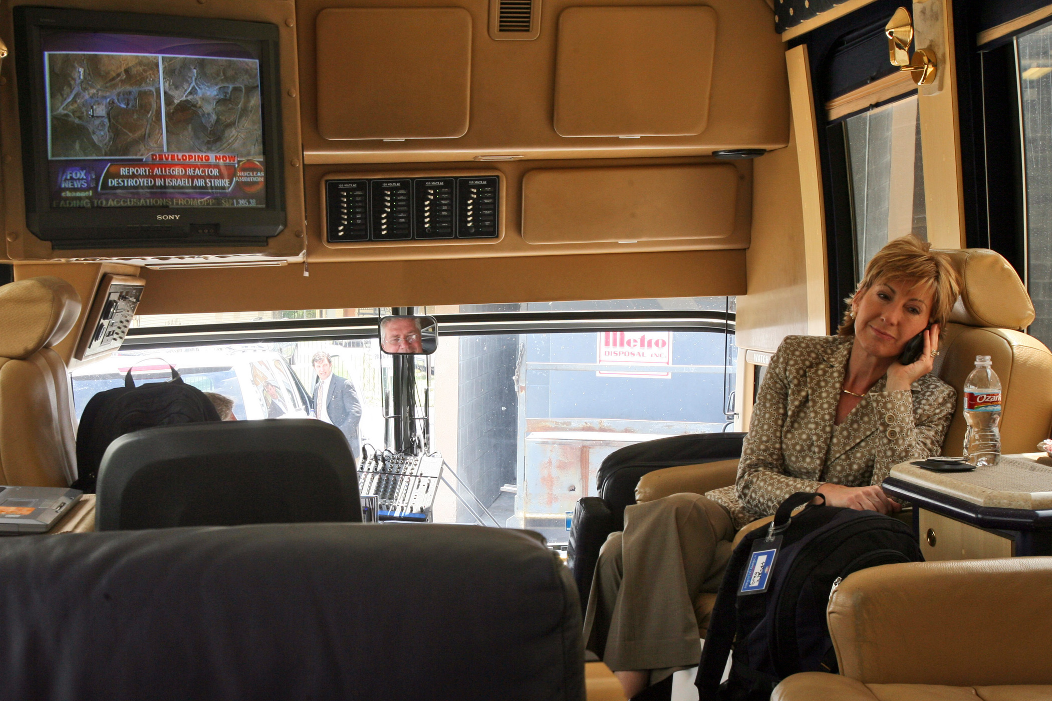 """Carly Fiorina, as an adviser to Republican presidential candidate Sen. John McCain, works inside the """"Straight Talk Express"""" on April 24, 2008 in New Orleans."""