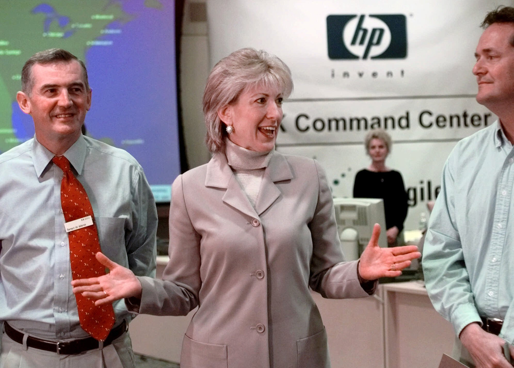 Carly Fiorina during a news conference on Dec. 31, 1999 at HP headquarters in Palo Alto, Calif.