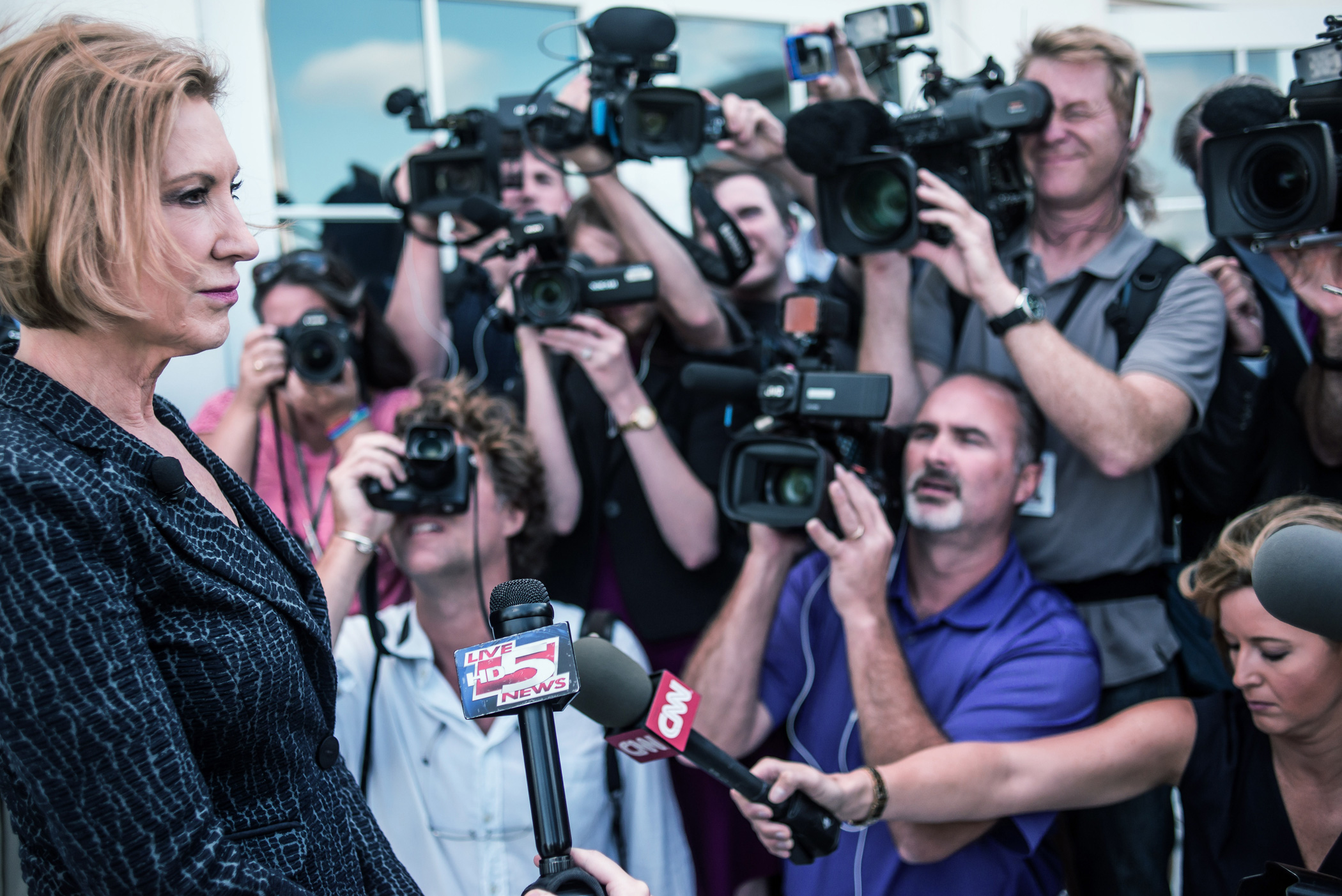 Carly Fiorina speaks to the media after a national security forum on Sept. 22, 2015 in Charleston, S.C.