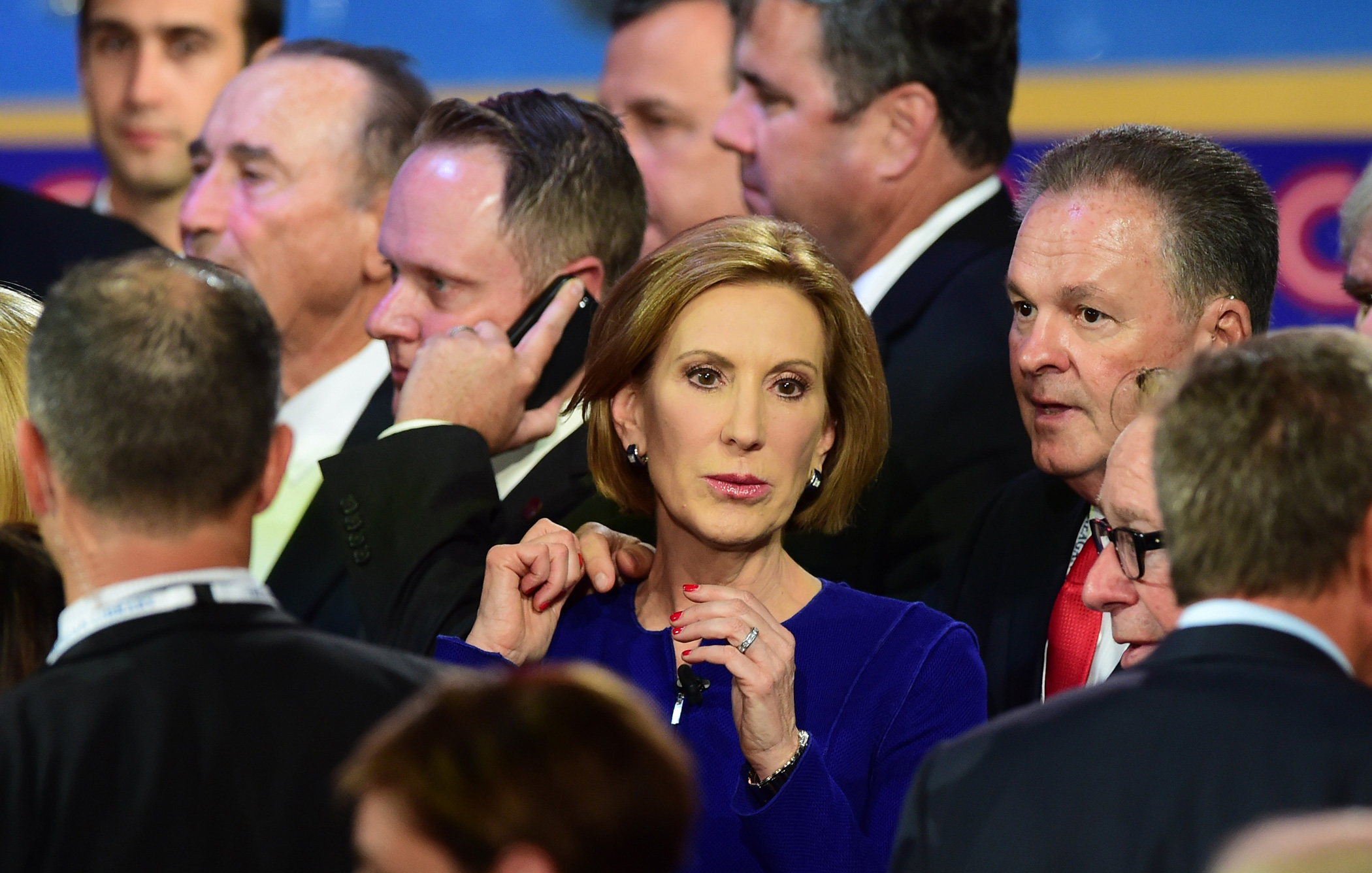 Carly Fiorina mingles amid the crowd following the Presidential debate on Sept. 16, 2015 in Simi Valley, Calif.