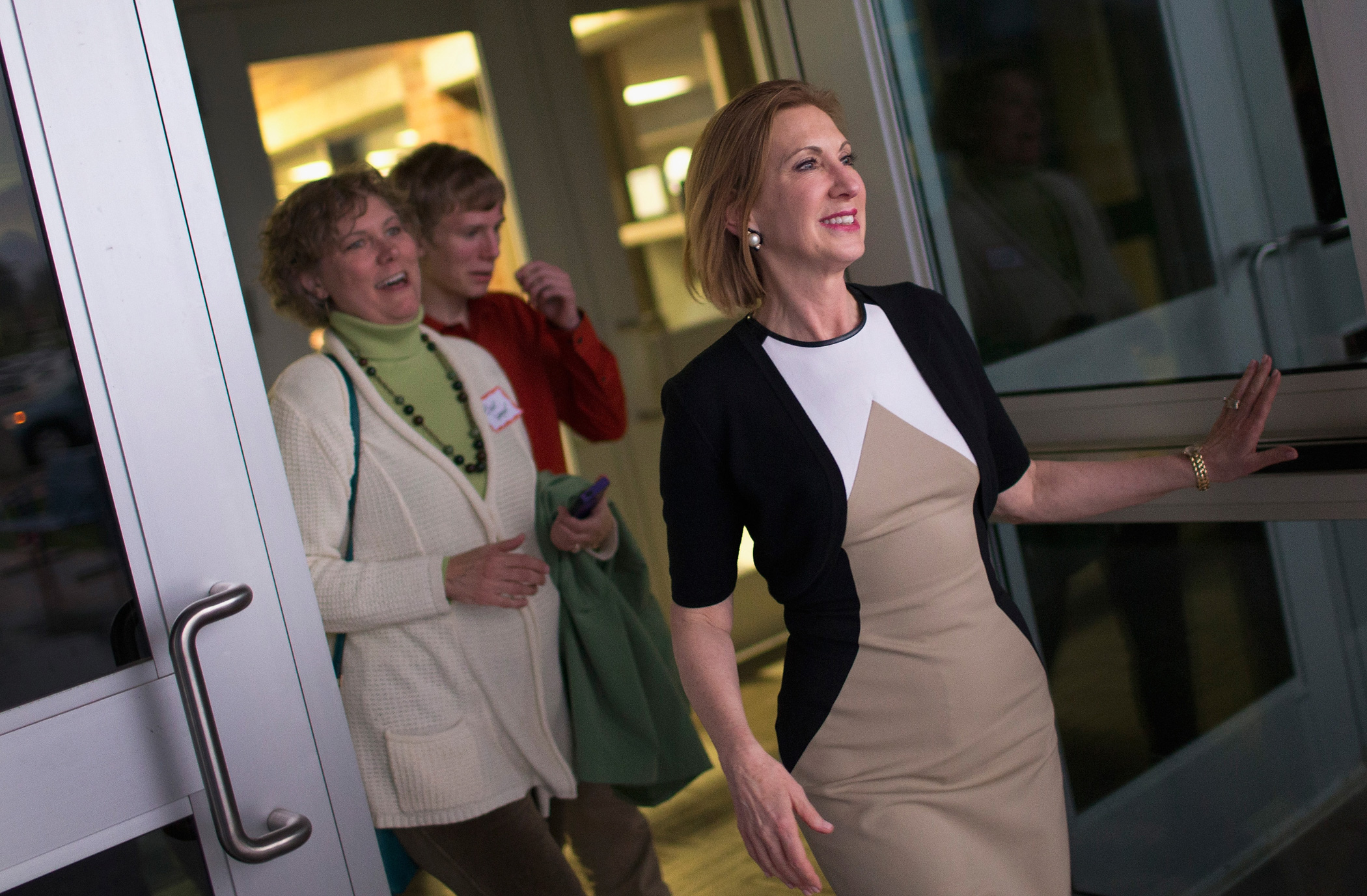 Carly Fiorina leaves Clear Creek Amana High School after speaking on April 24, 2015 in Tiffin, Iowa.
