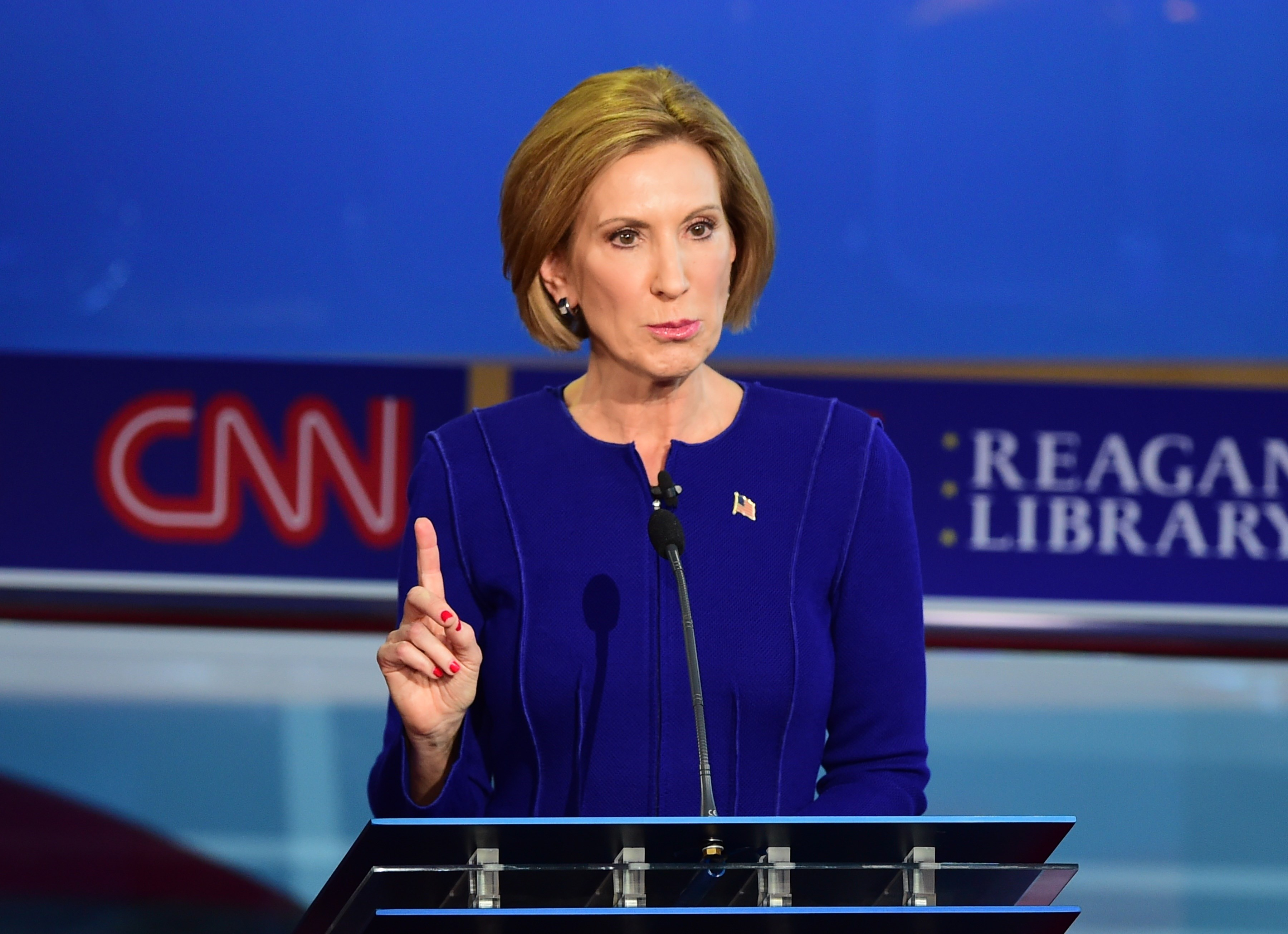 Republican presidential hopeful Carly Fiorina speaks during the Republican presidential debate at the Ronald Reagan Presidential Library in Simi Valley, California on Sept. 16, 2015.