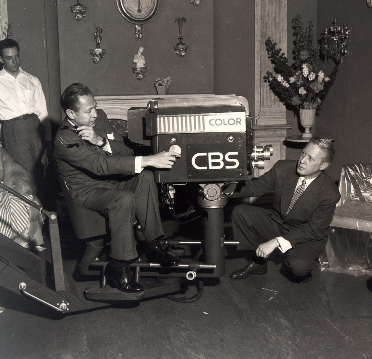 William S. Paley and Dr. Frank Stanton (right) with a color CBS television camera. 1951.