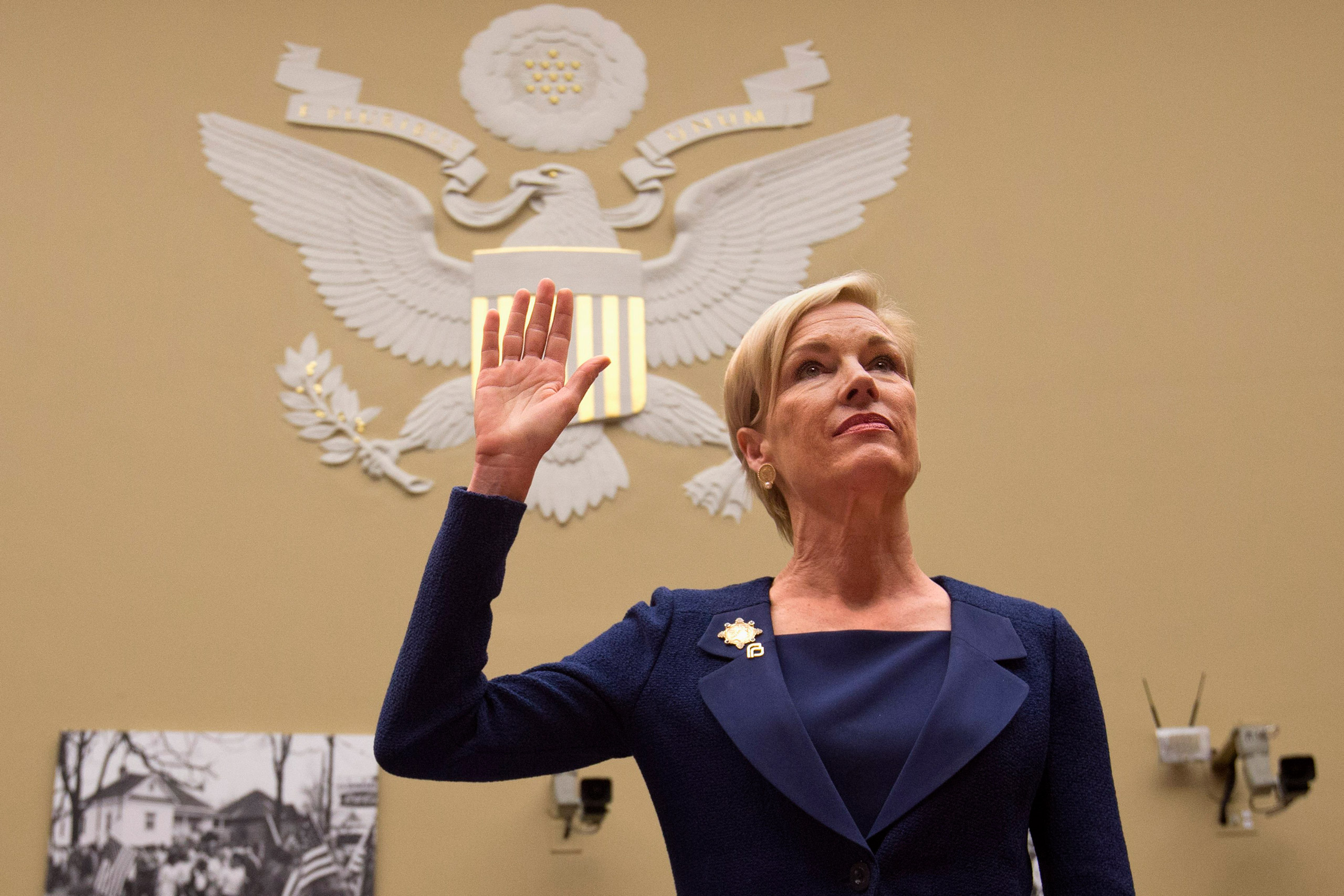Planned Parenthood Federation of America President Cecile Richards is sworn in prior to testifying before the House Oversight and Government Reform Committee hearing in Washington on Sept. 29, 2015.