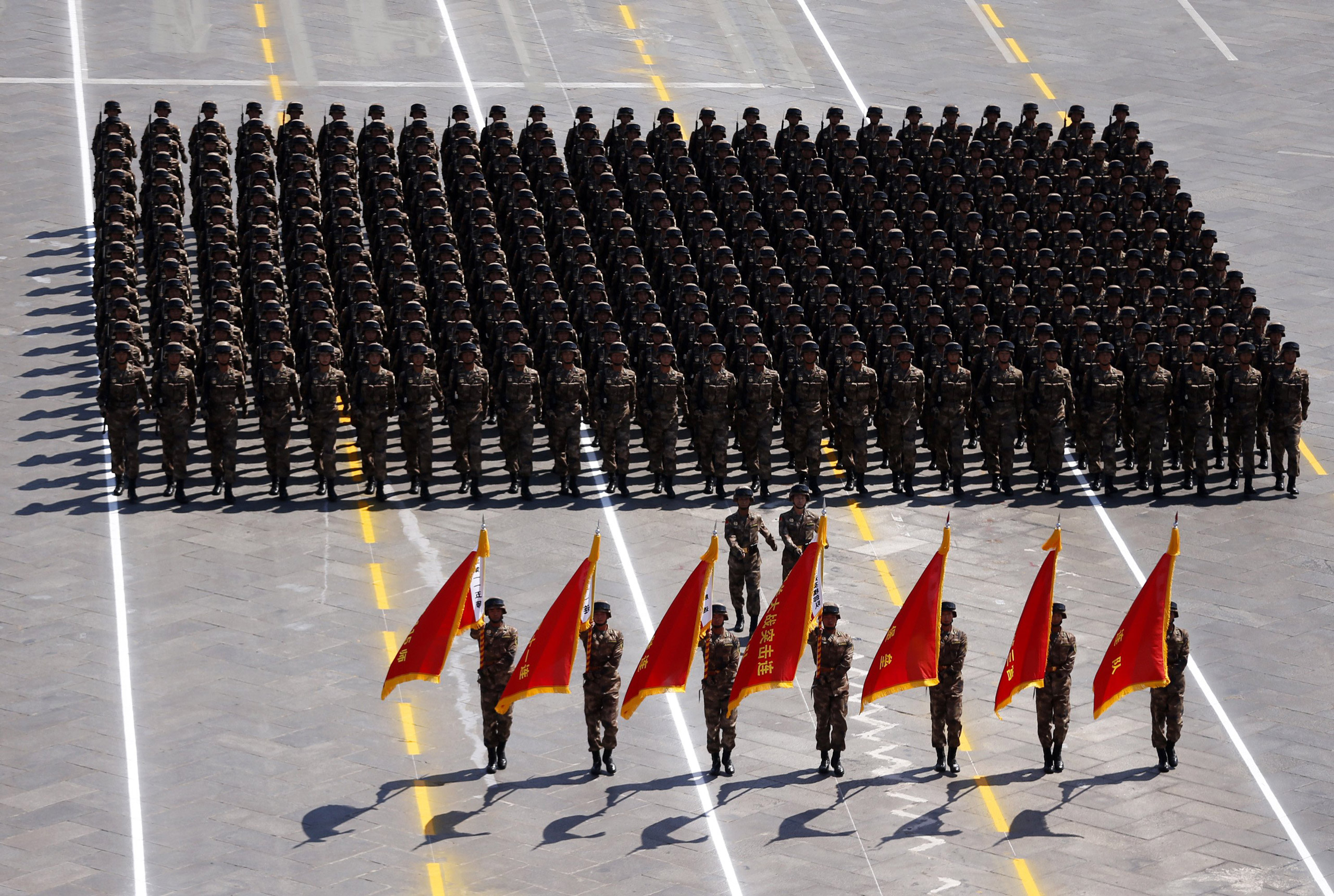 "A phalanx honoring heroes of the ""Pingxingguan Pass Battle"" during a grand military parade celebrating the 70th anniversary of the end of World War II in Beijing, on Sept. 3, 2015."