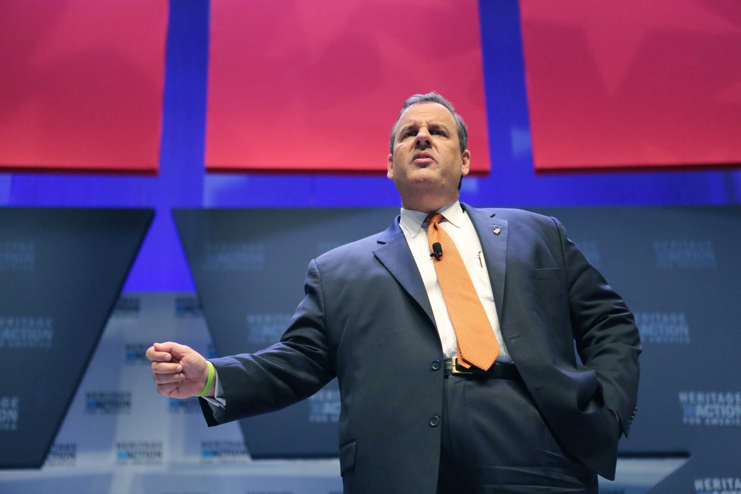 Republican presidential candidate Gov. Chris Christie speaks at the Heritage Foundation Take Back America candidate forum in Greenville, S.C., on Sept. 18, 2015.