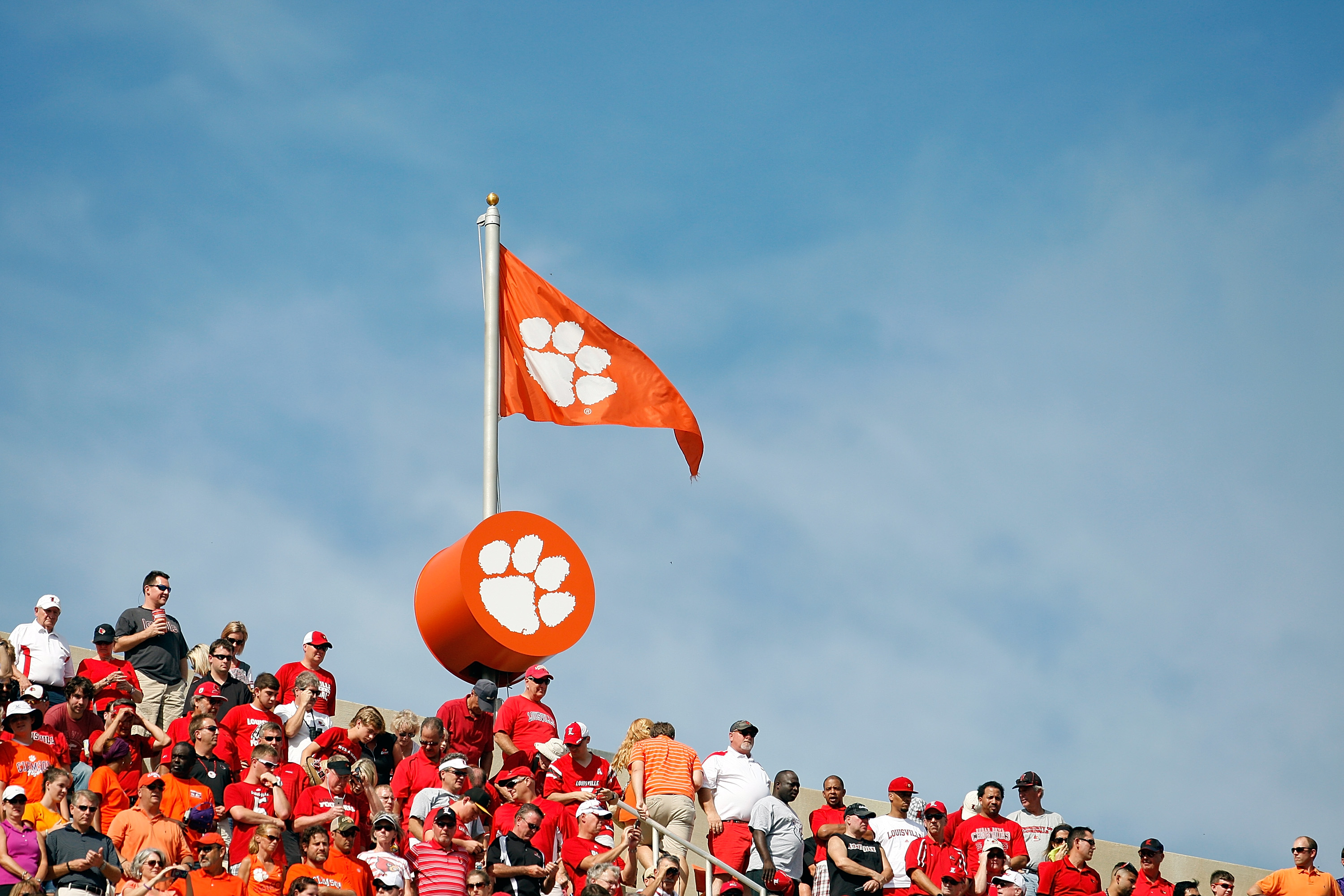A Clemson flag flies above Memorial Stadium during the game between the Clemson Tigers and Louisville Cardinals in Clemson, S.C. on Oct. 11, 2014.