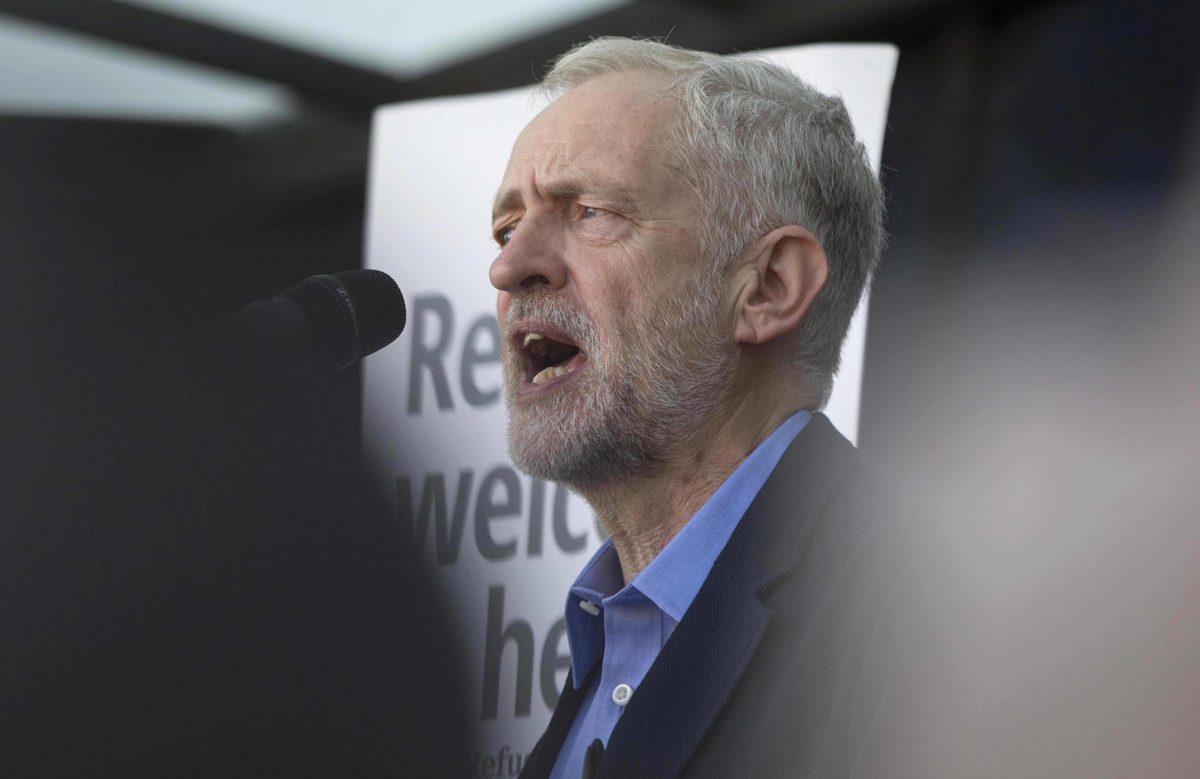 Jeremy Corbyn, the new leader of Britain's opposition Labour Party speaks at a pro-refugee demonstration in London, on Sept. 12, 2015.