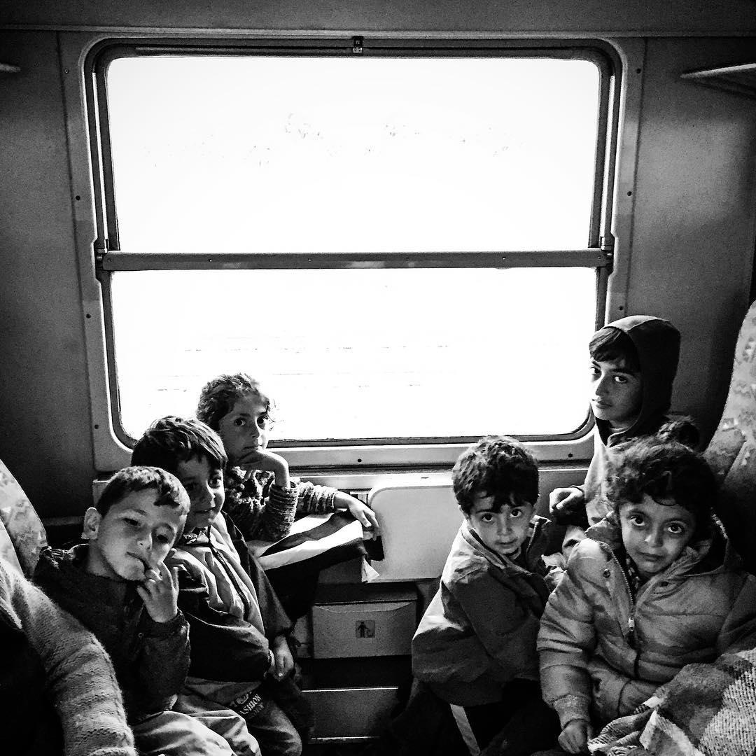 A family waits on board a train preparing to depart Tovarnik, Croatia. Sept. 20, 2015.