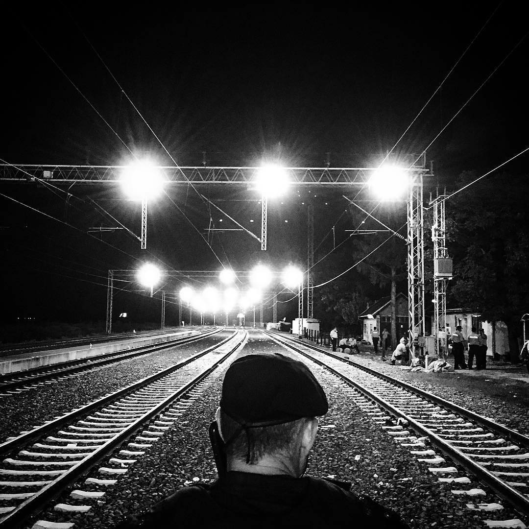 Croatian police at the Tovarnik train station. Hundreds of refugees, who just walked across the Serbian border, are waiting for trains to arrive. Sept. 18, 2015.