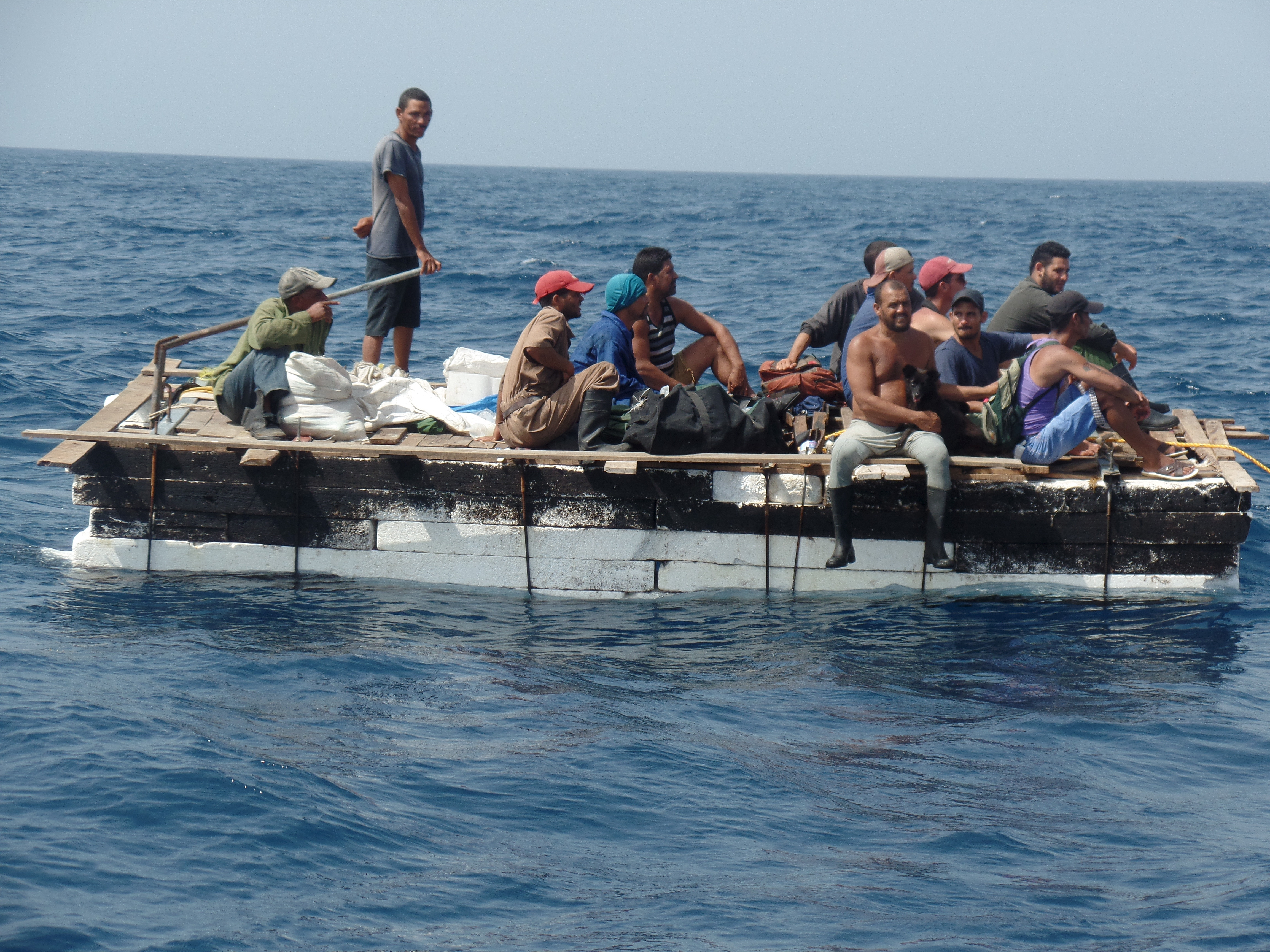 Cuban migrants are seen on a raft before being rescued by members of Mexico's Navy (SEMAR) in Progreso, in the state of Yucatan, in July 5, 2015.
