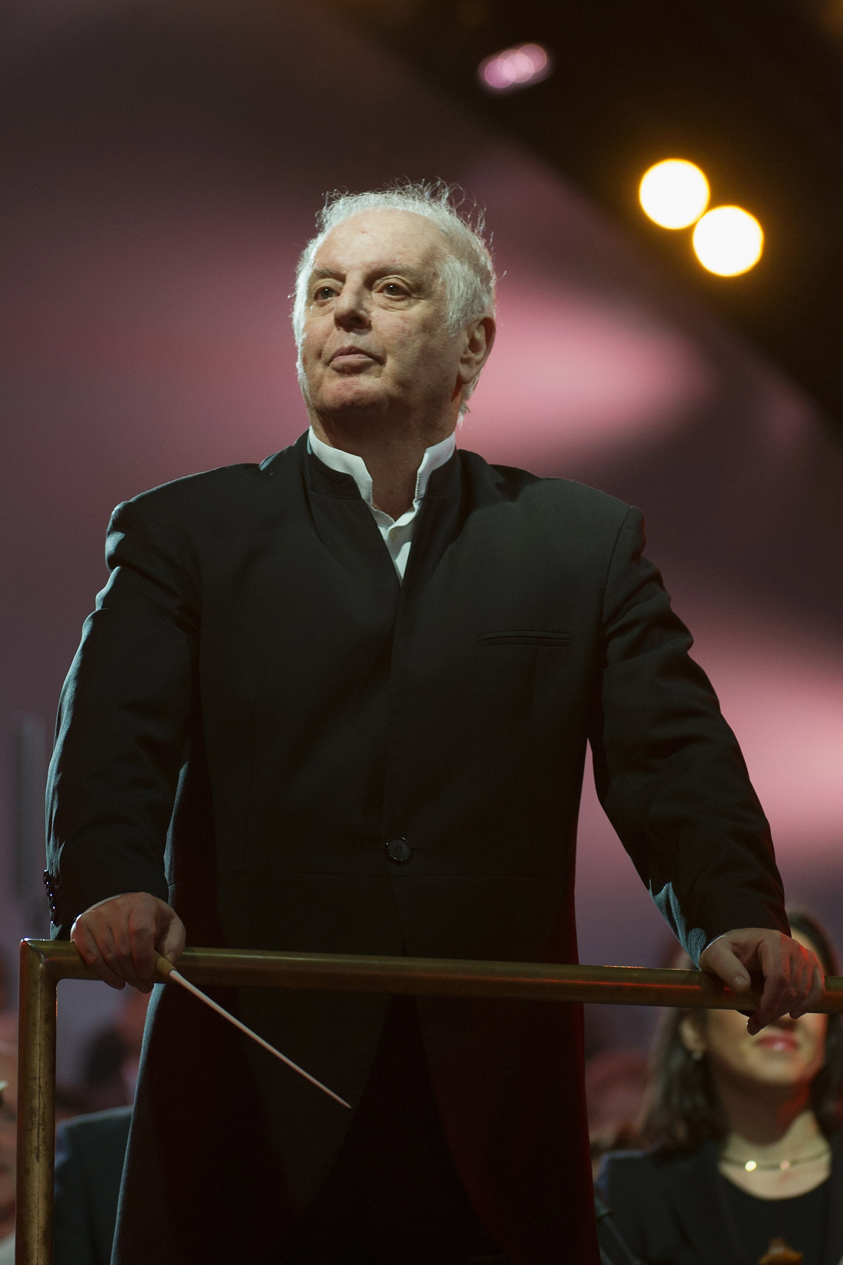 Conductor Daniel Barenboim performs at Brandenburg Gate during celebrations on the 25th anniversary of the fall of Wall in Berlin, on November 9, 2014.