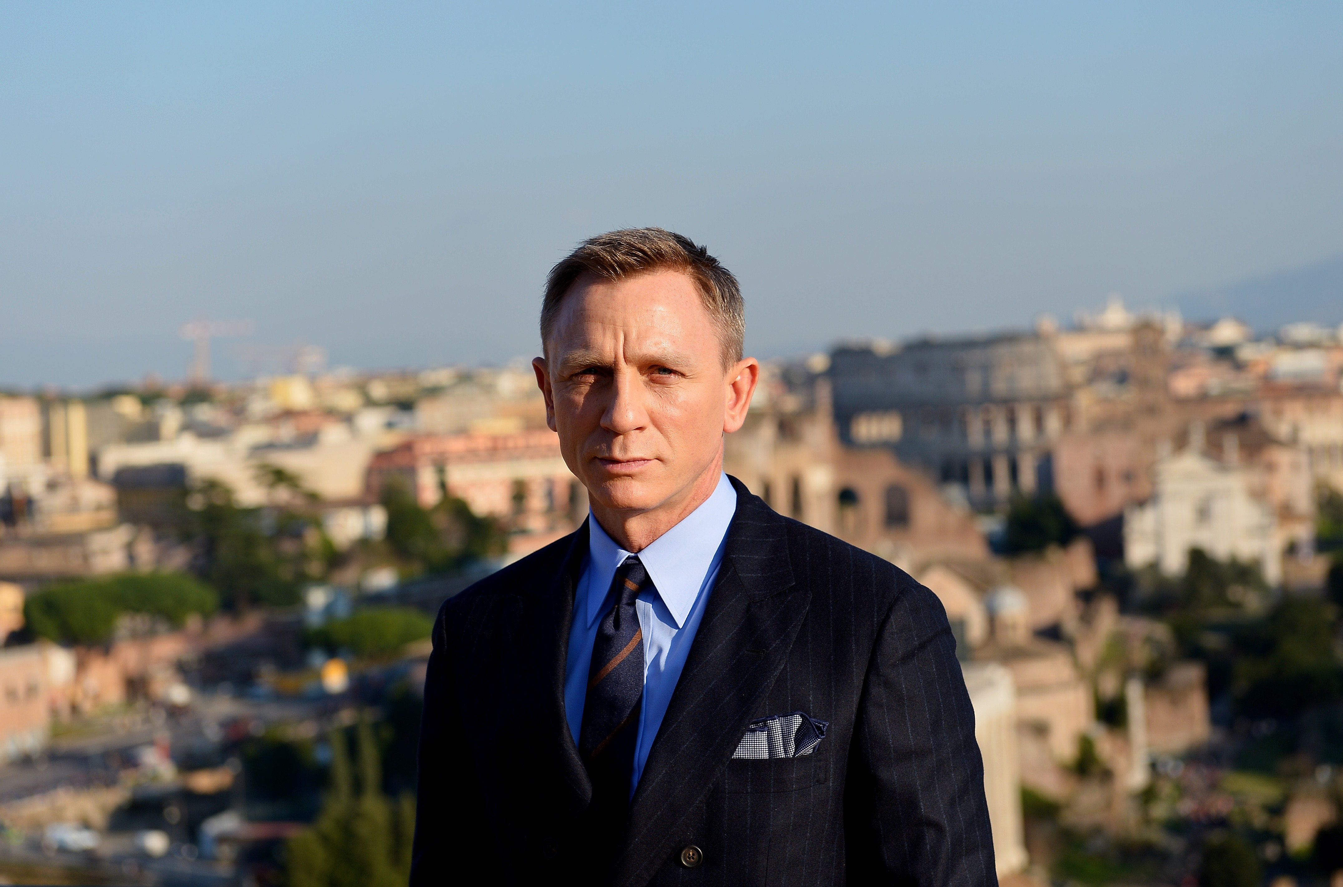 Daniel Craig poses during a photocall to promote the 24th James Bond film 'Spectre' at Rome's city hall on Feb. 18, 2015.
