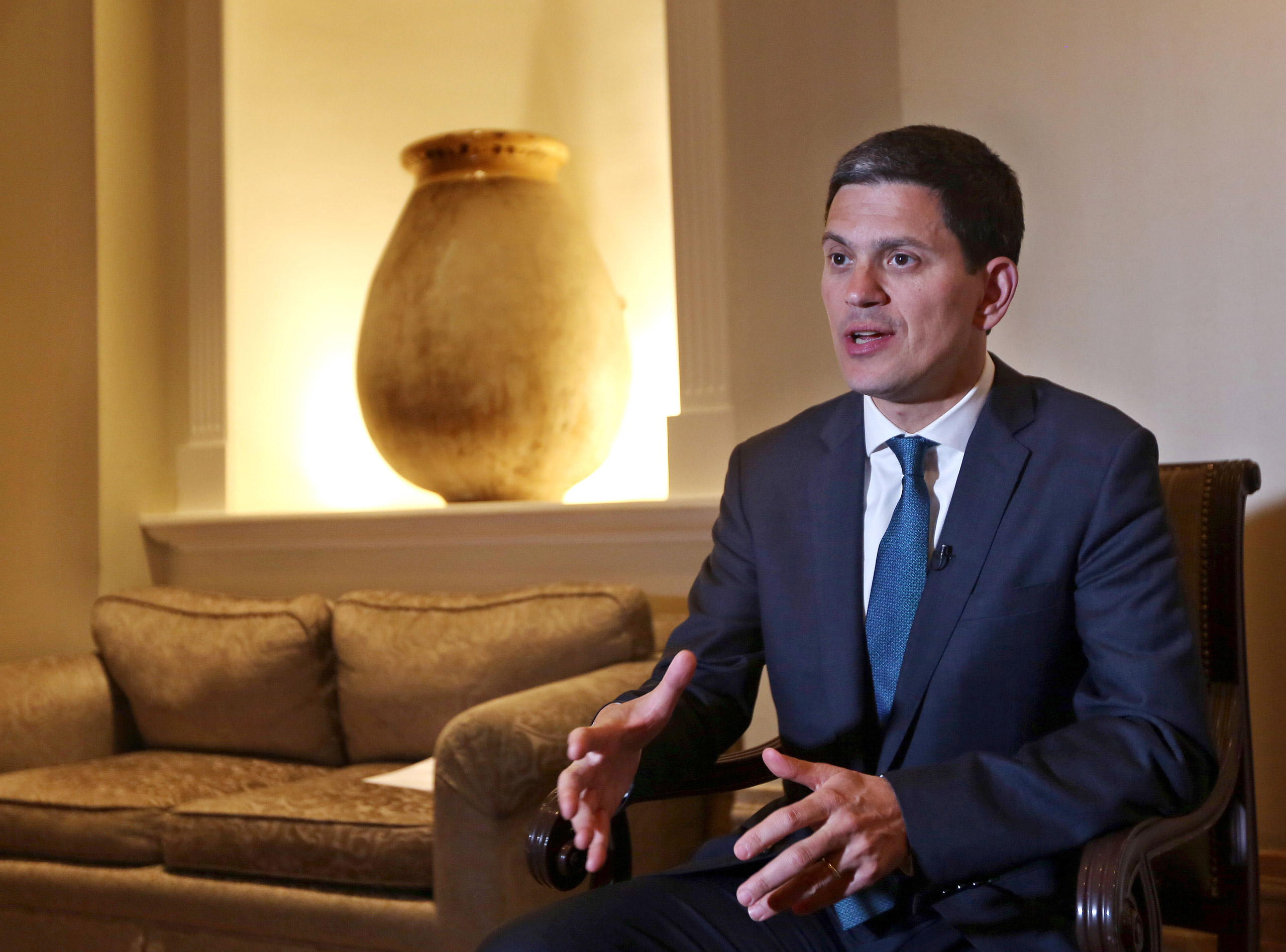 David Miliband, the President and CEO of the International Rescue Committee, speaks during an interview with The Associated Press in Beirut, on Apr. 9, 2015.