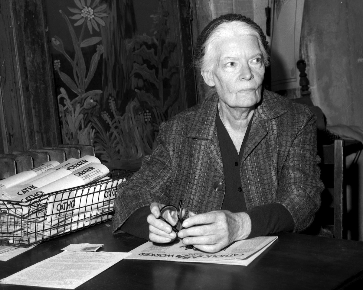 Dorothy Day inside the Worker office at 175 Christie St. in New York City in 1965.